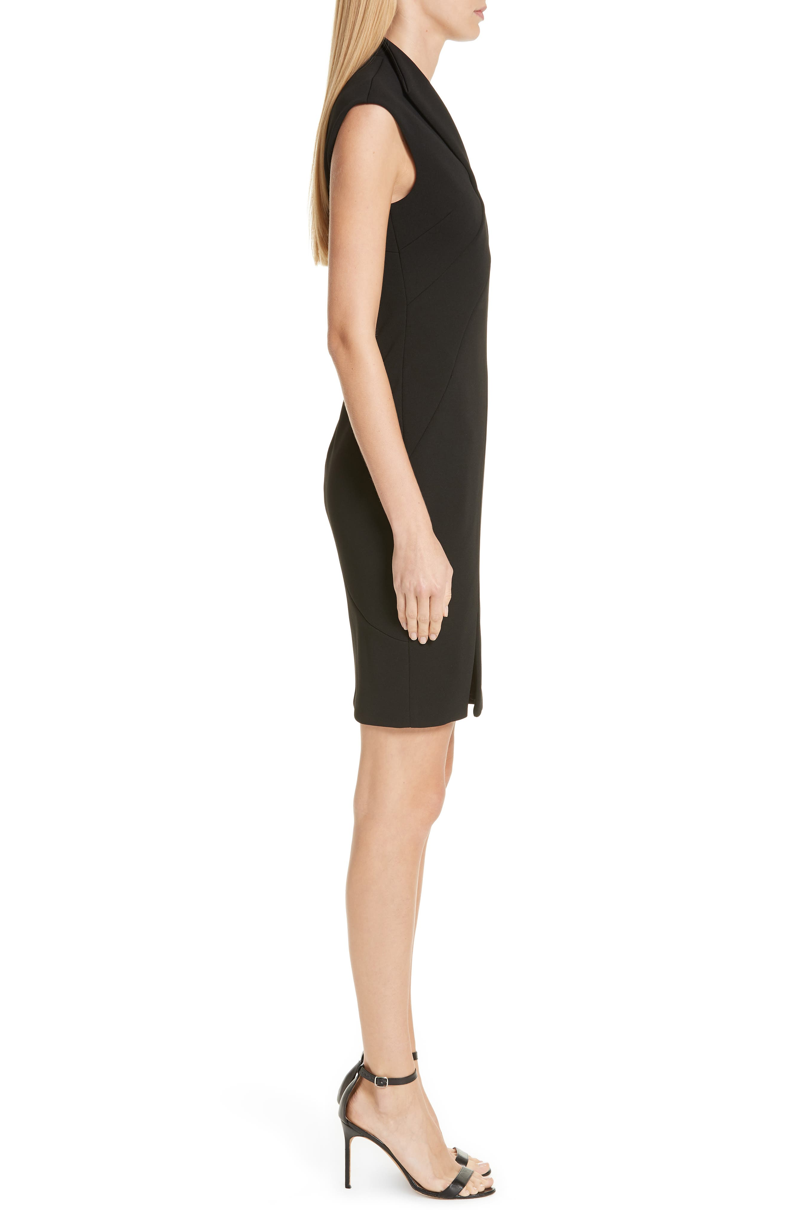 Geodese Faux Wrap Pencil Dress,                             Alternate thumbnail 3, color,                             BLACK