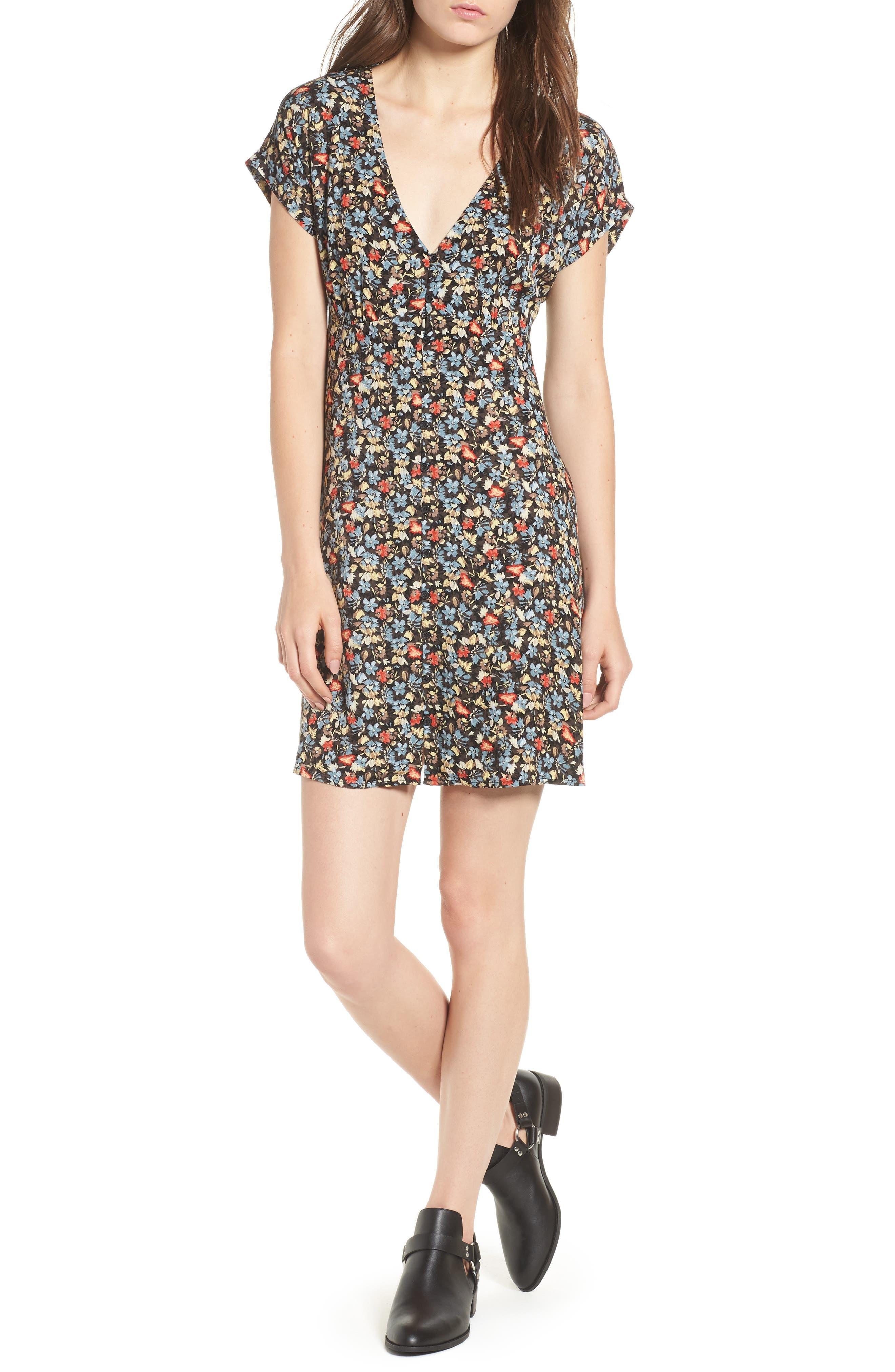 Floral Print Button Front Dress,                         Main,                         color, BLACK GROUND FLORAL