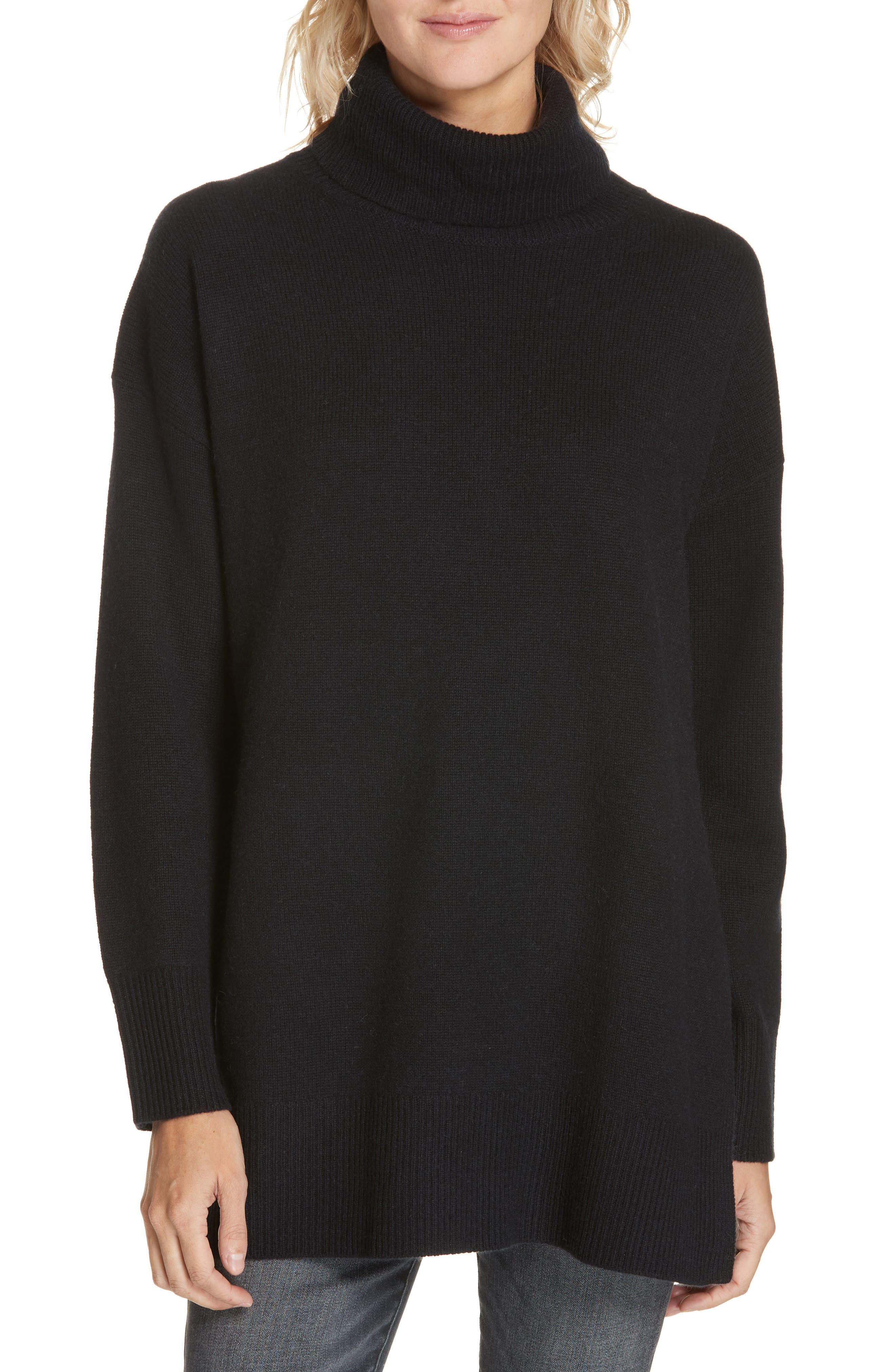NORDSTROM SIGNATURE,                             Cashmere Turtleneck Pullover,                             Main thumbnail 1, color,                             001