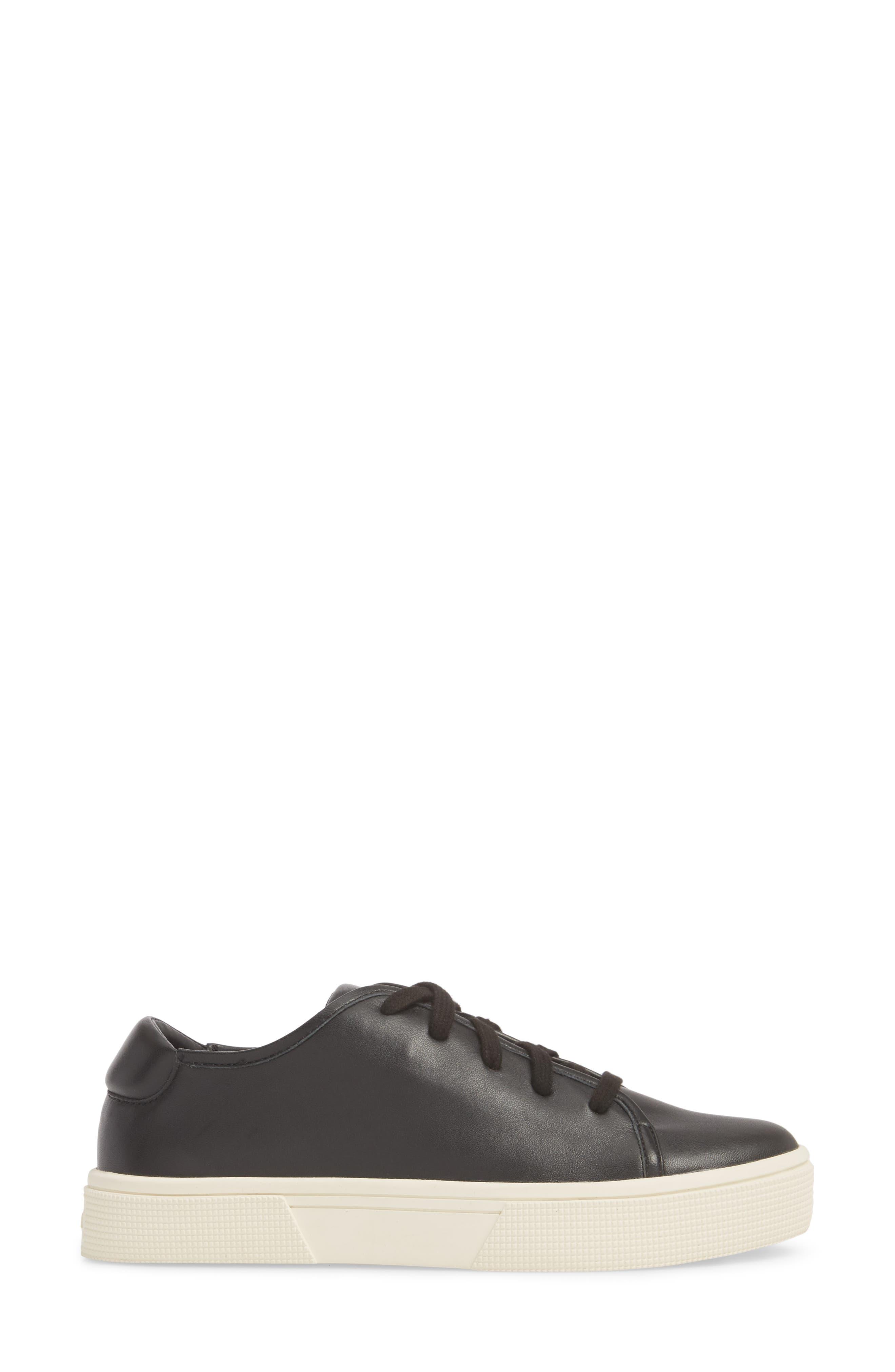 Norvin Sneaker,                             Alternate thumbnail 3, color,                             BLACK LEATHER