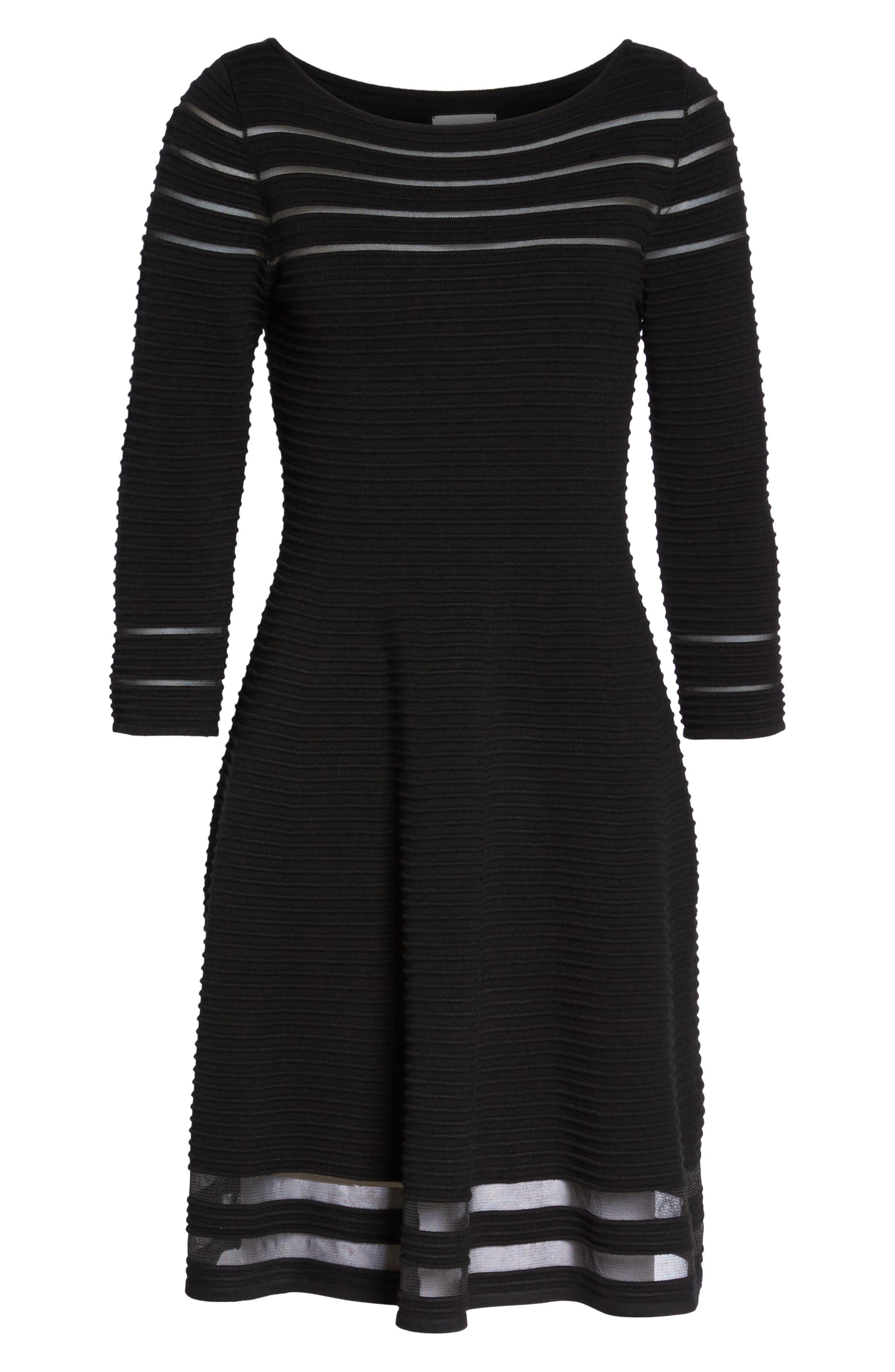 Mesh Fit & Flare Dress,                             Alternate thumbnail 7, color,                             BLACK