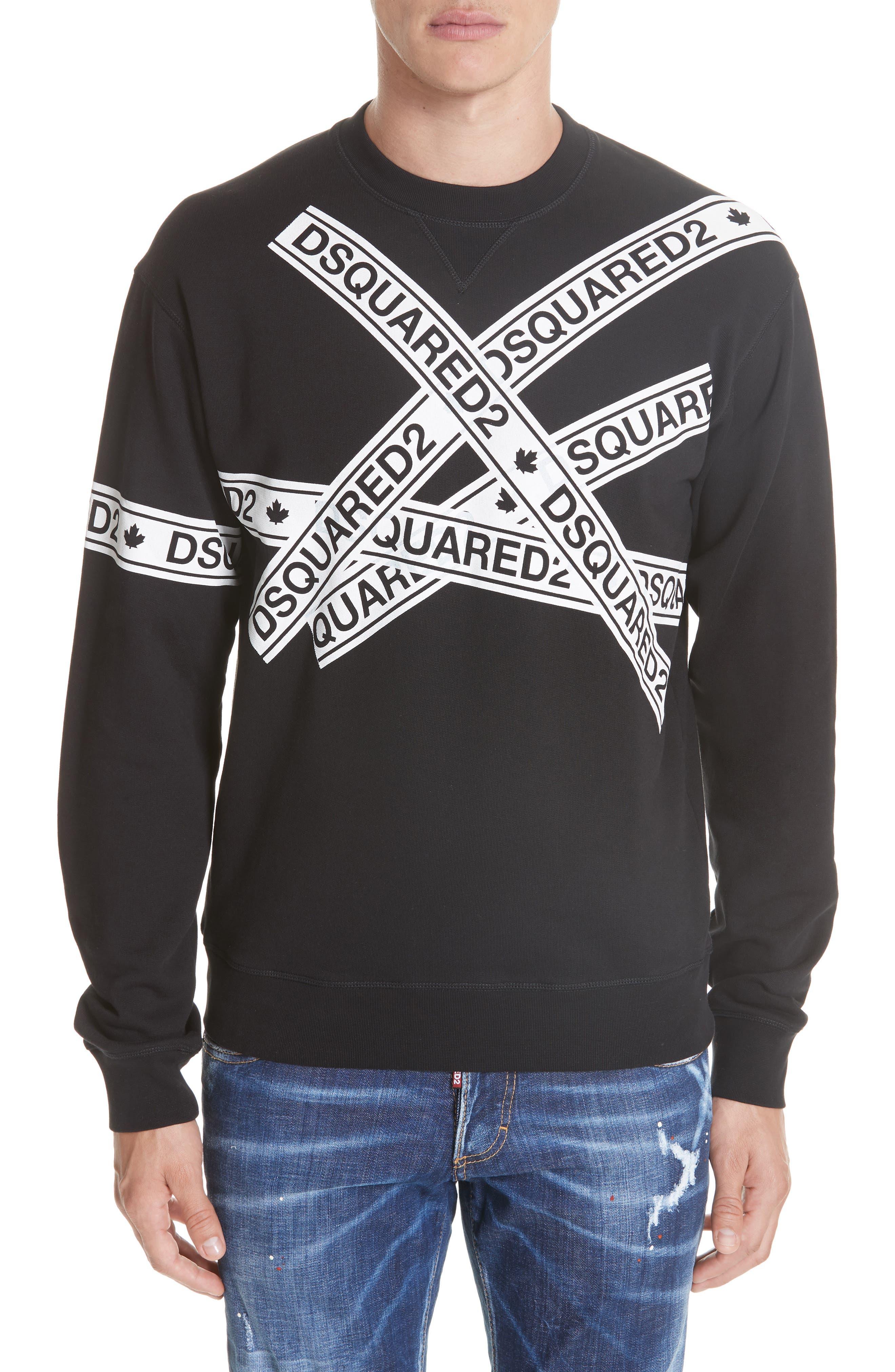 Caution Logo Print Sweatshirt,                         Main,                         color, 001
