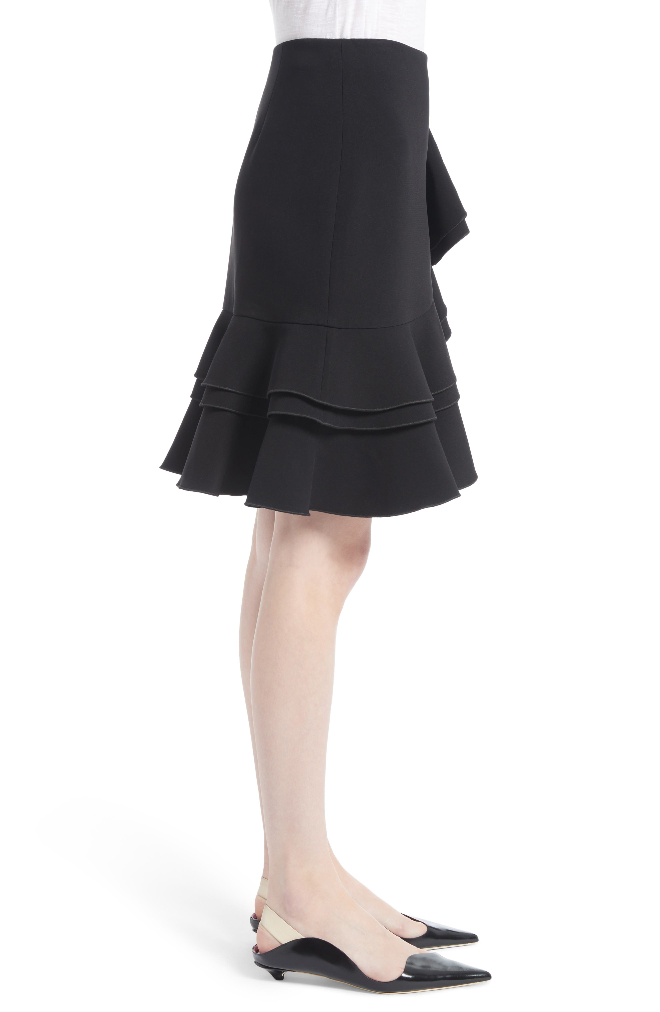 Ruffle Stretch Cady Skirt,                             Alternate thumbnail 3, color,                             001