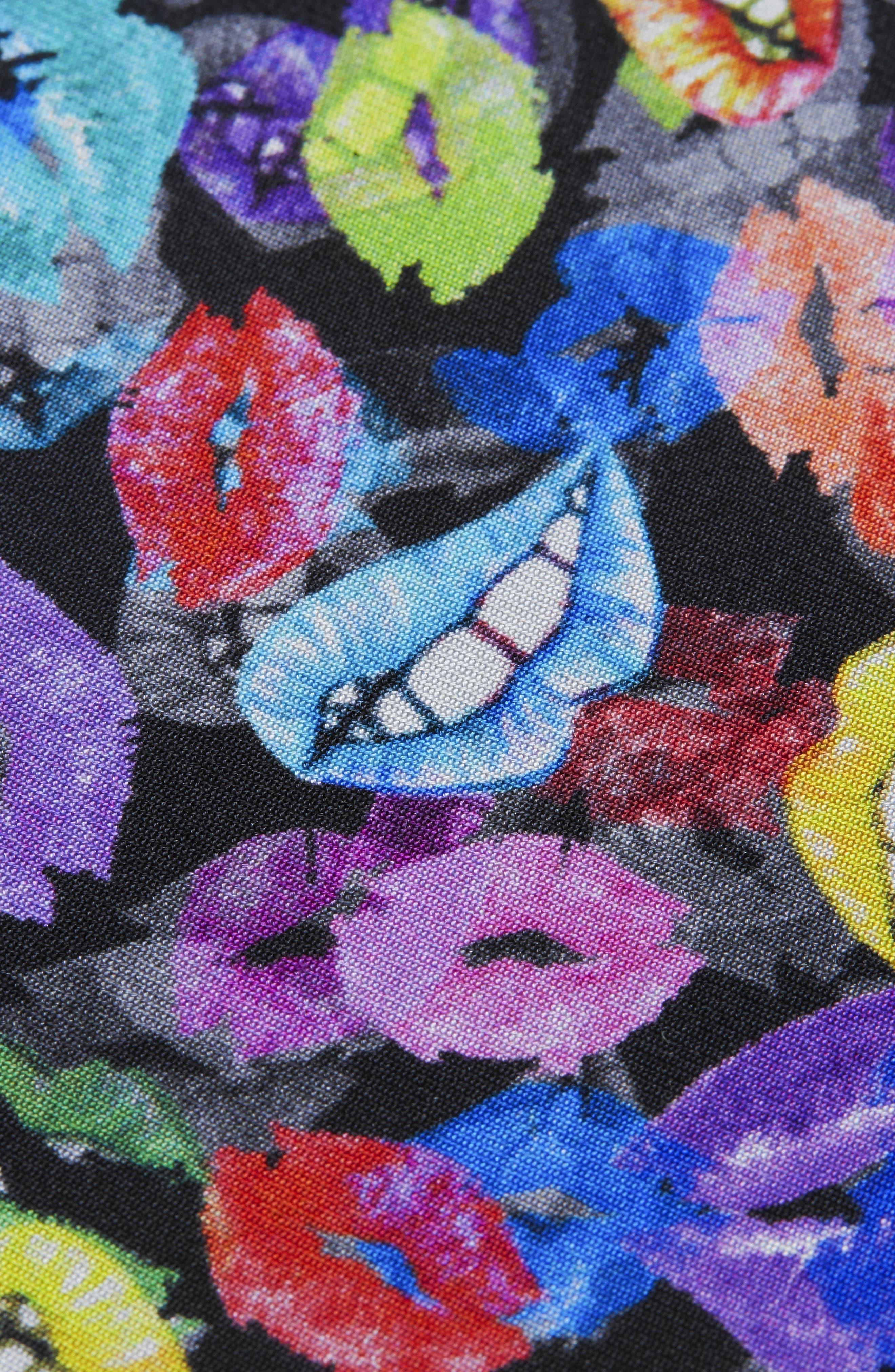 Lip Print Silk Pocket Square,                             Alternate thumbnail 2, color,                             001