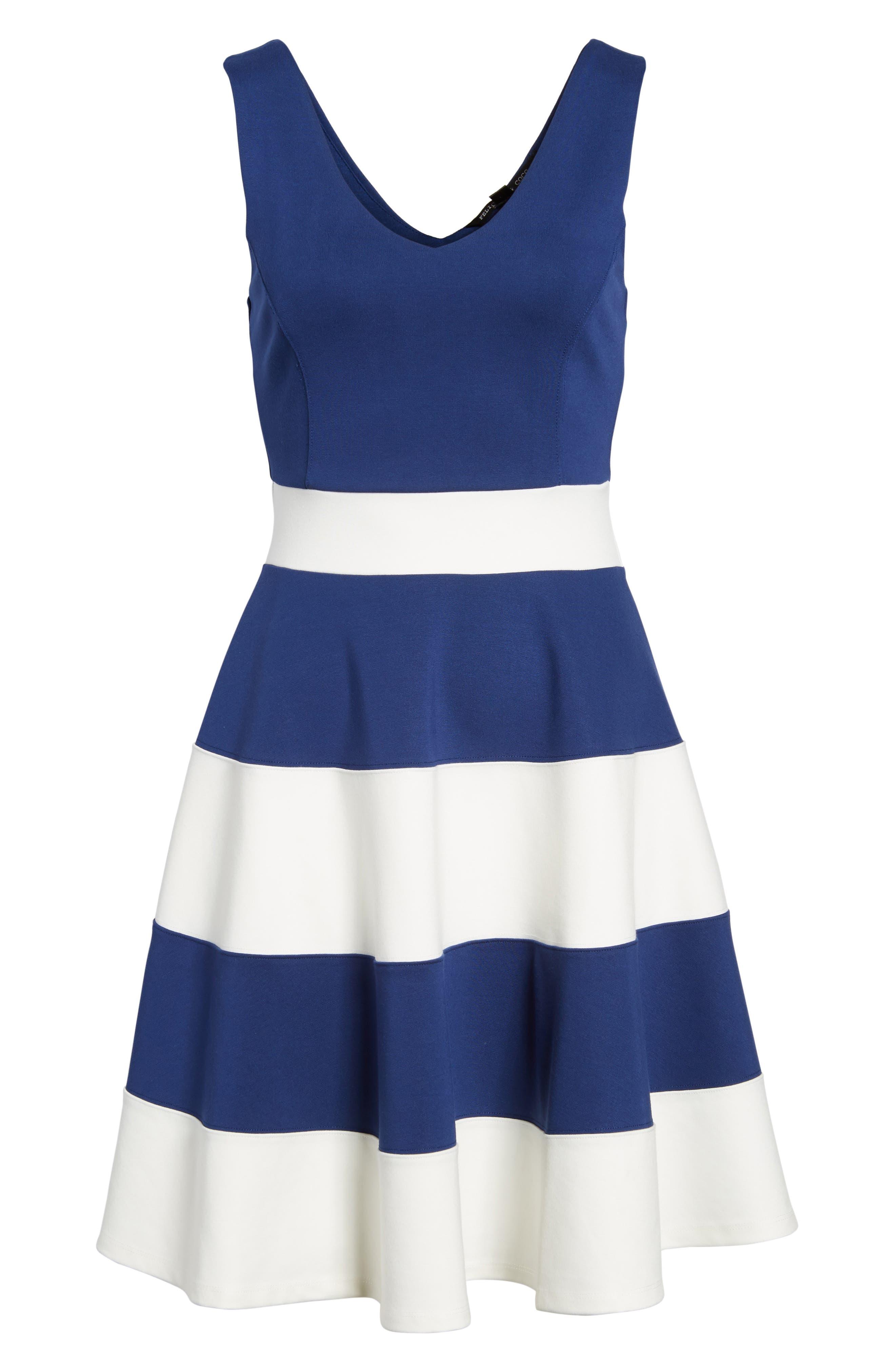 Joice Sleeveless Fit & Flare Dress,                             Alternate thumbnail 6, color,                             409