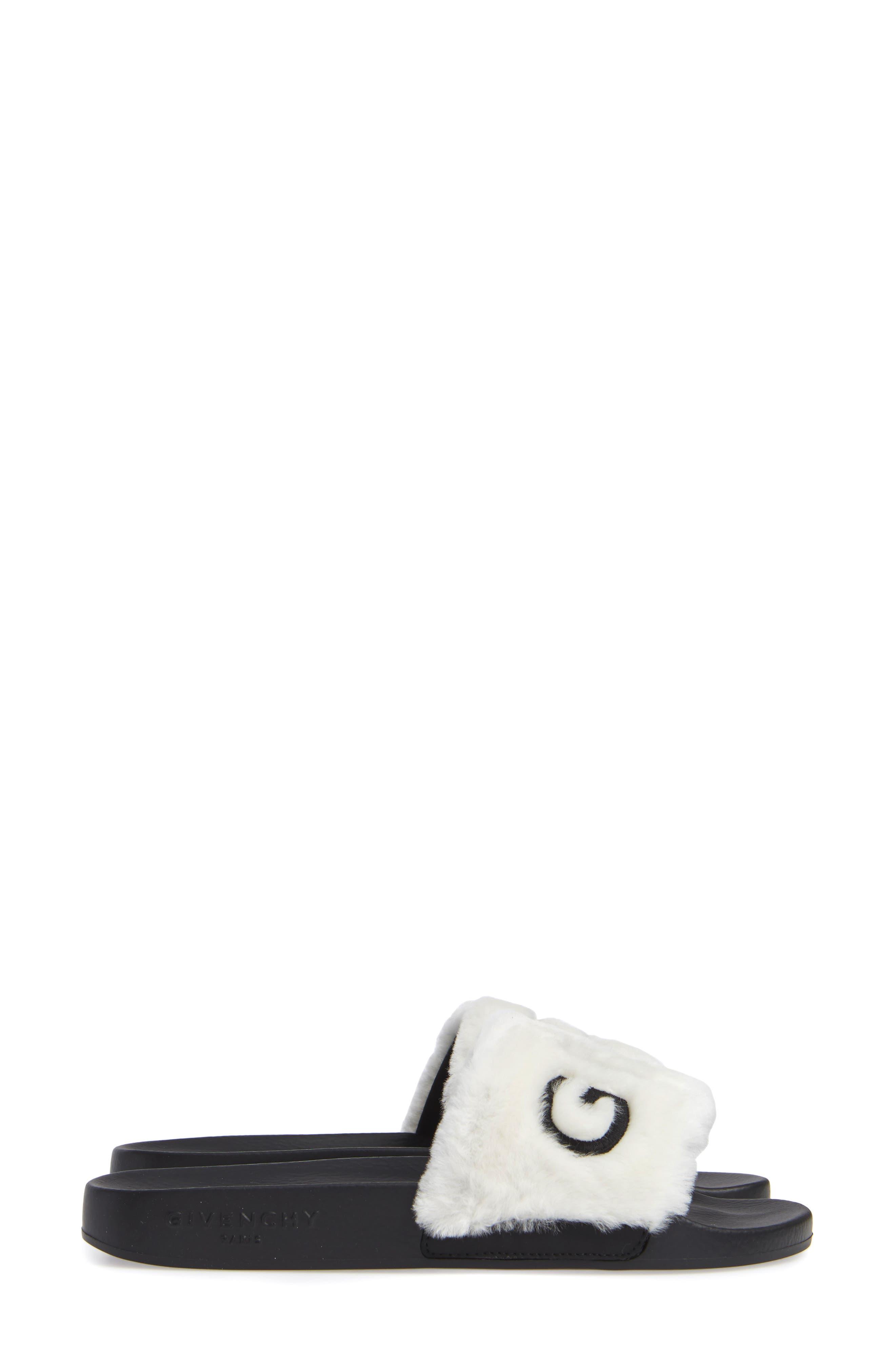 Logo Genuine Shearling Slide Sandal,                             Alternate thumbnail 4, color,                             WHITE/ BLACK