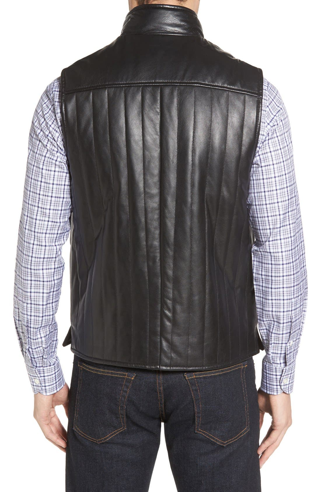 Puffy Leather & Wool Blend Reversible Vest,                             Alternate thumbnail 2, color,                             001