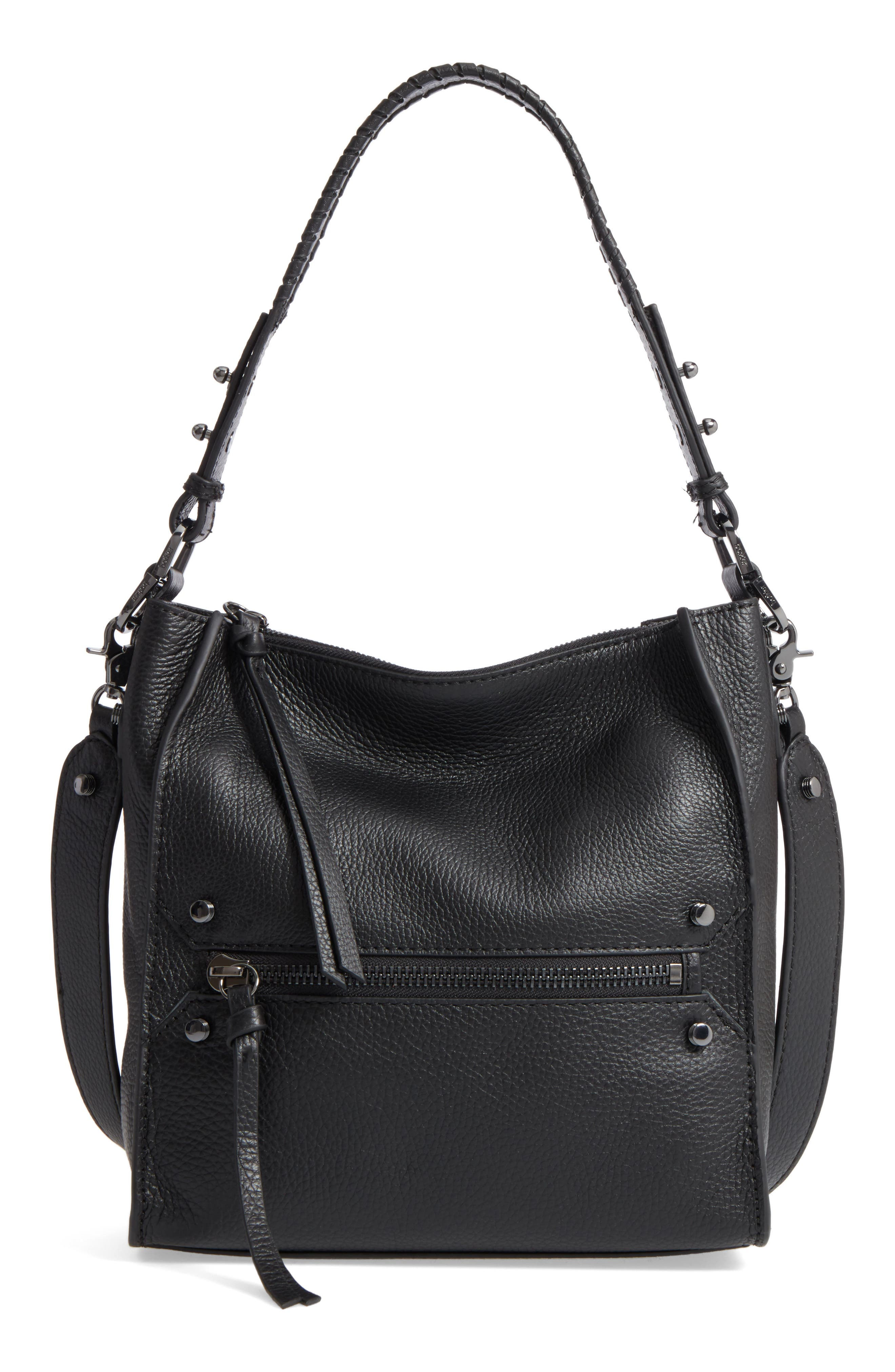 Small Paloma Leather Hobo,                         Main,                         color, 001