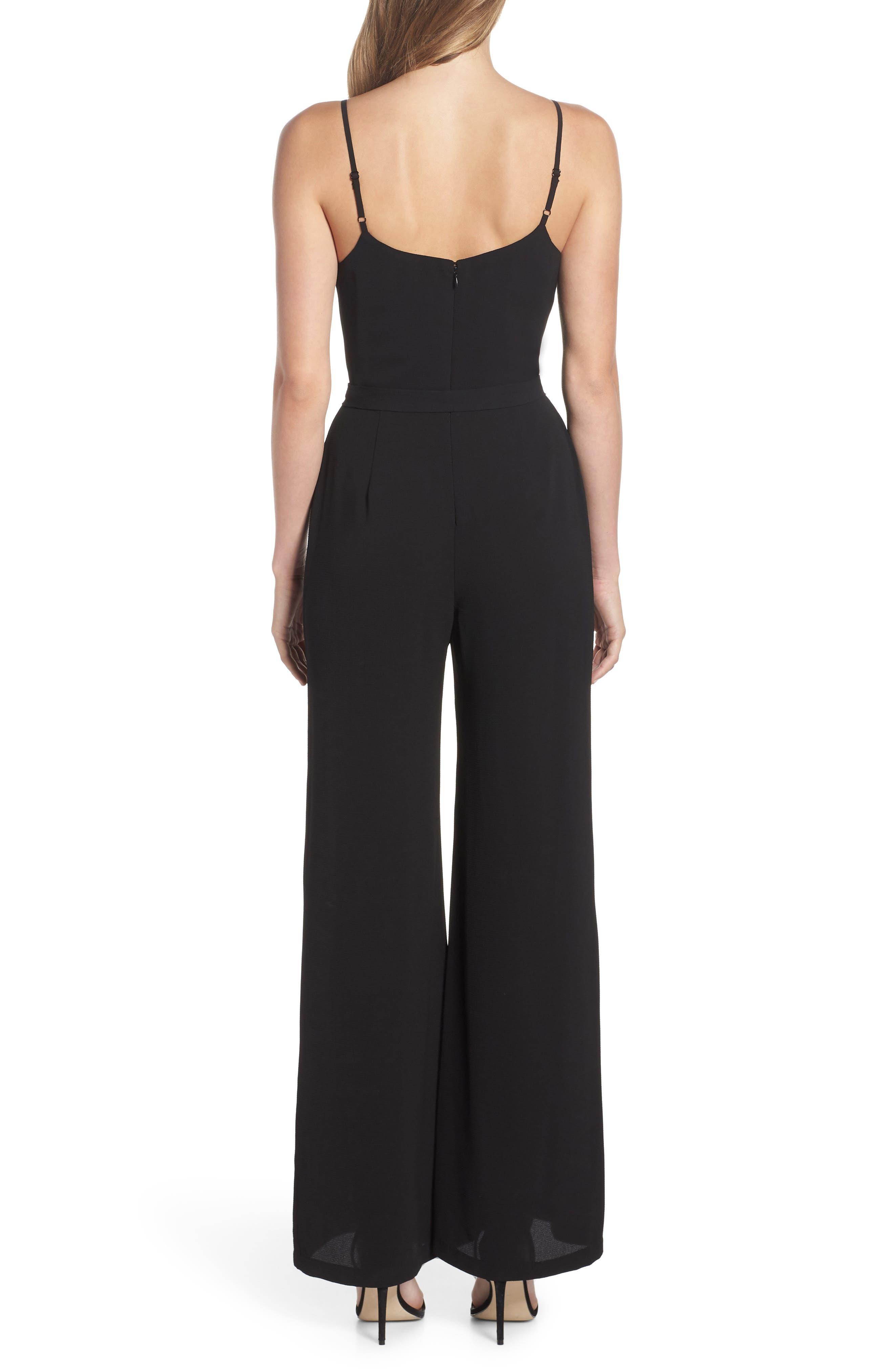 Belted Cami Jumpsuit,                             Alternate thumbnail 2, color,                             BLACK