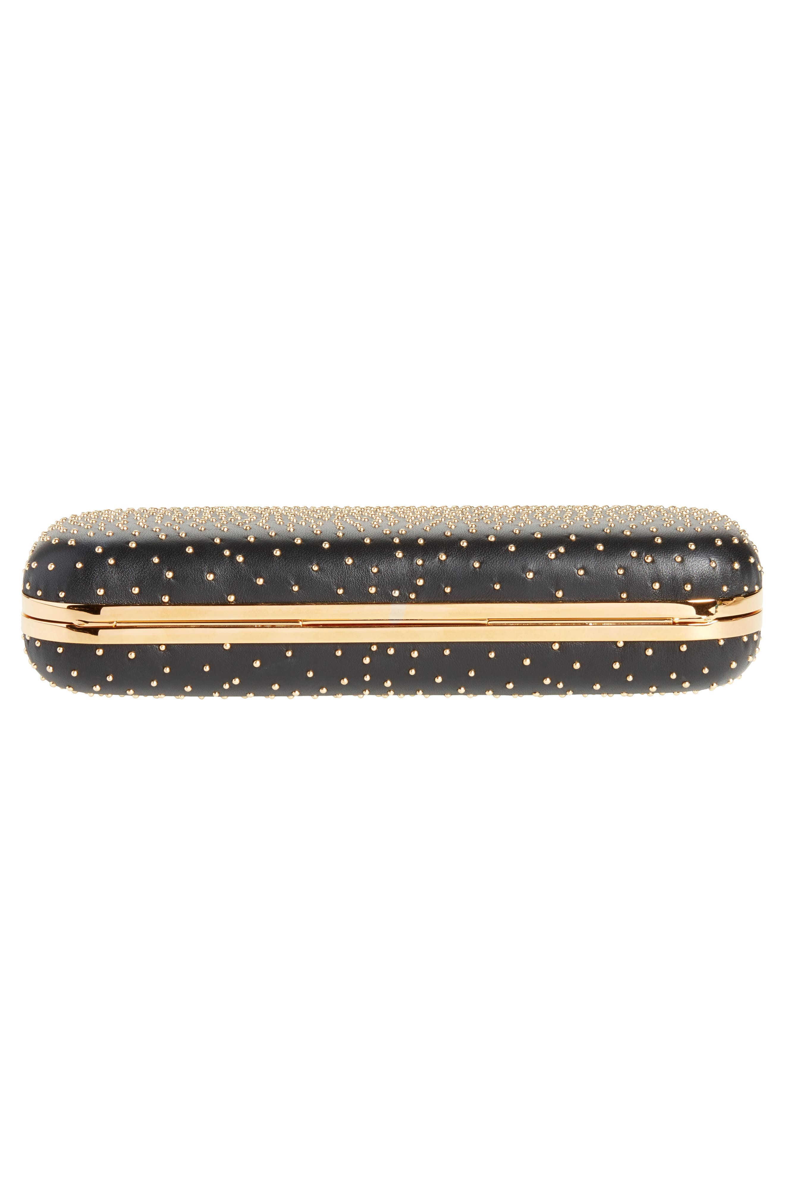 Studded Leather Knuckle Clutch,                             Alternate thumbnail 6, color,                             001