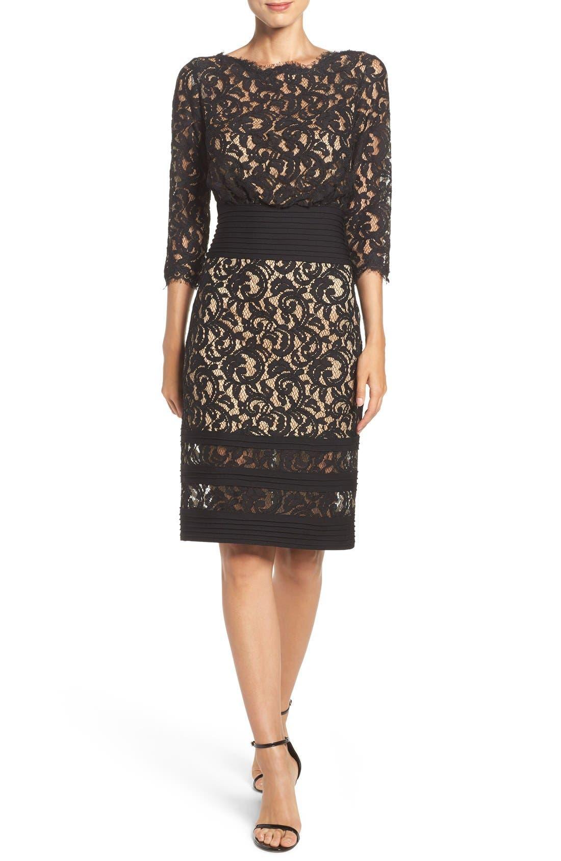 Pleat Waist Lace Blouson Dress,                             Alternate thumbnail 4, color,                             004