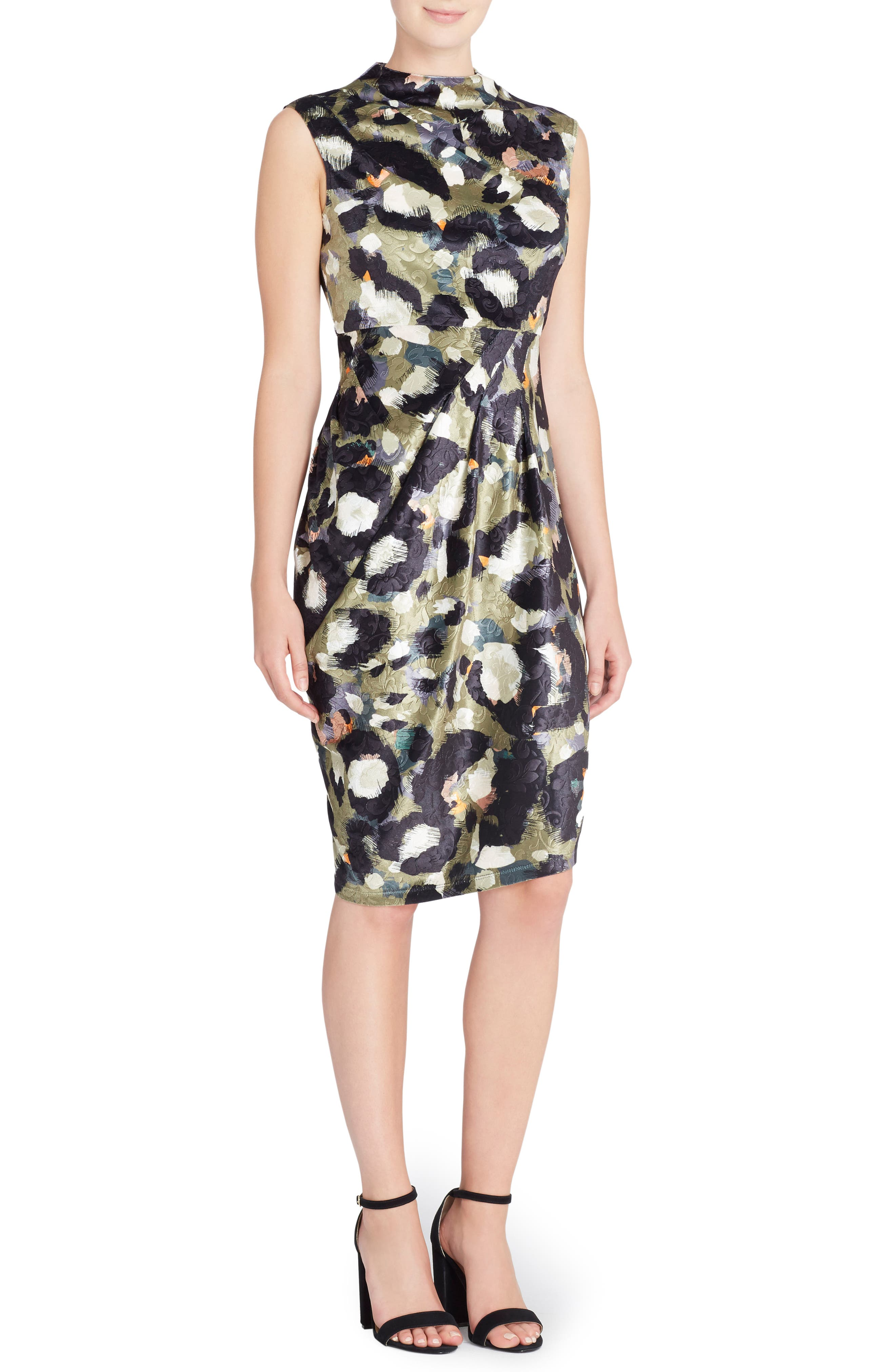 Arlene Floral Jacquard Sheath Dress,                             Main thumbnail 1, color,                             CAT PAINT