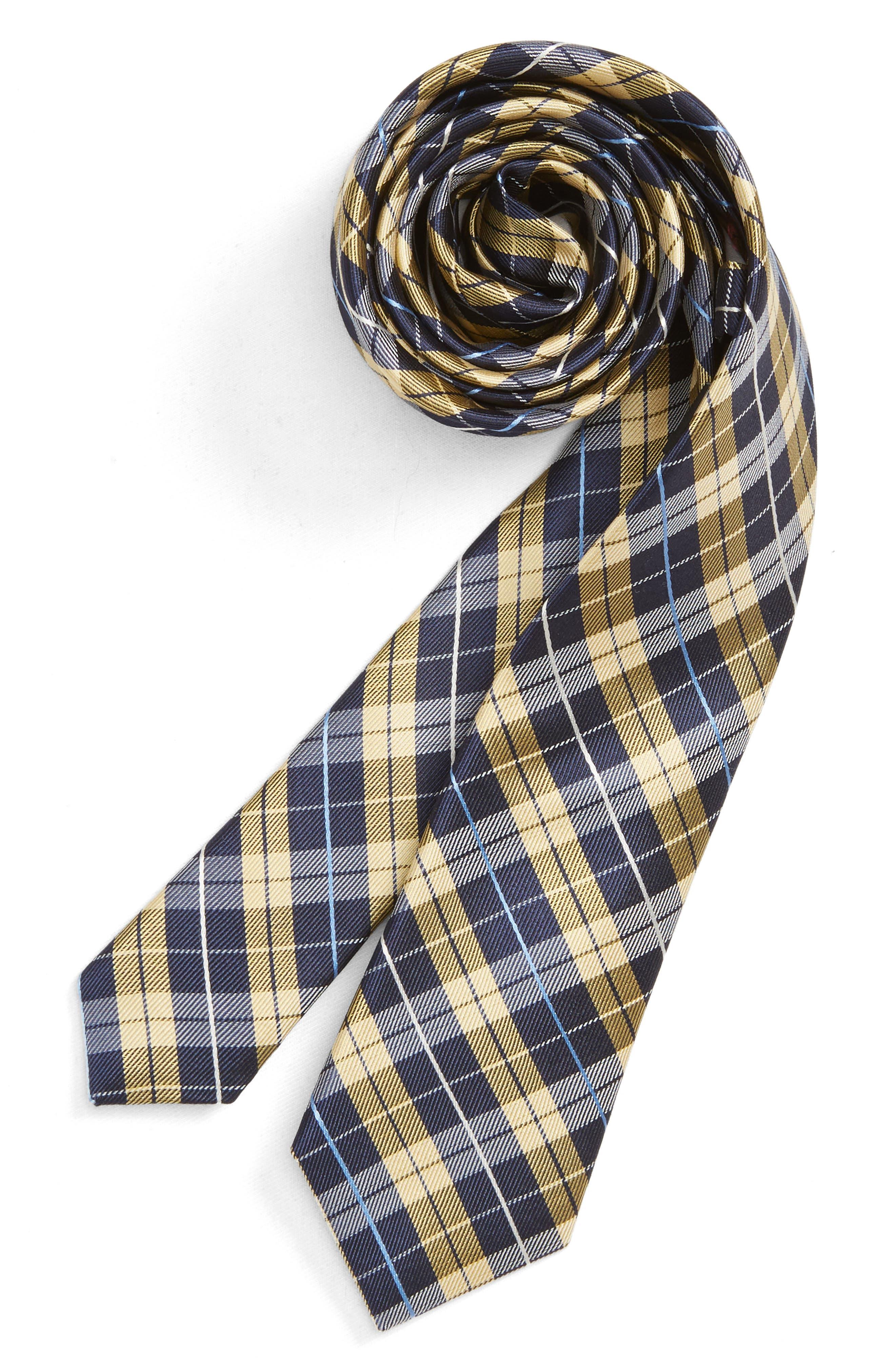 Plaid Silk Tie,                             Main thumbnail 1, color,                             YELLOW
