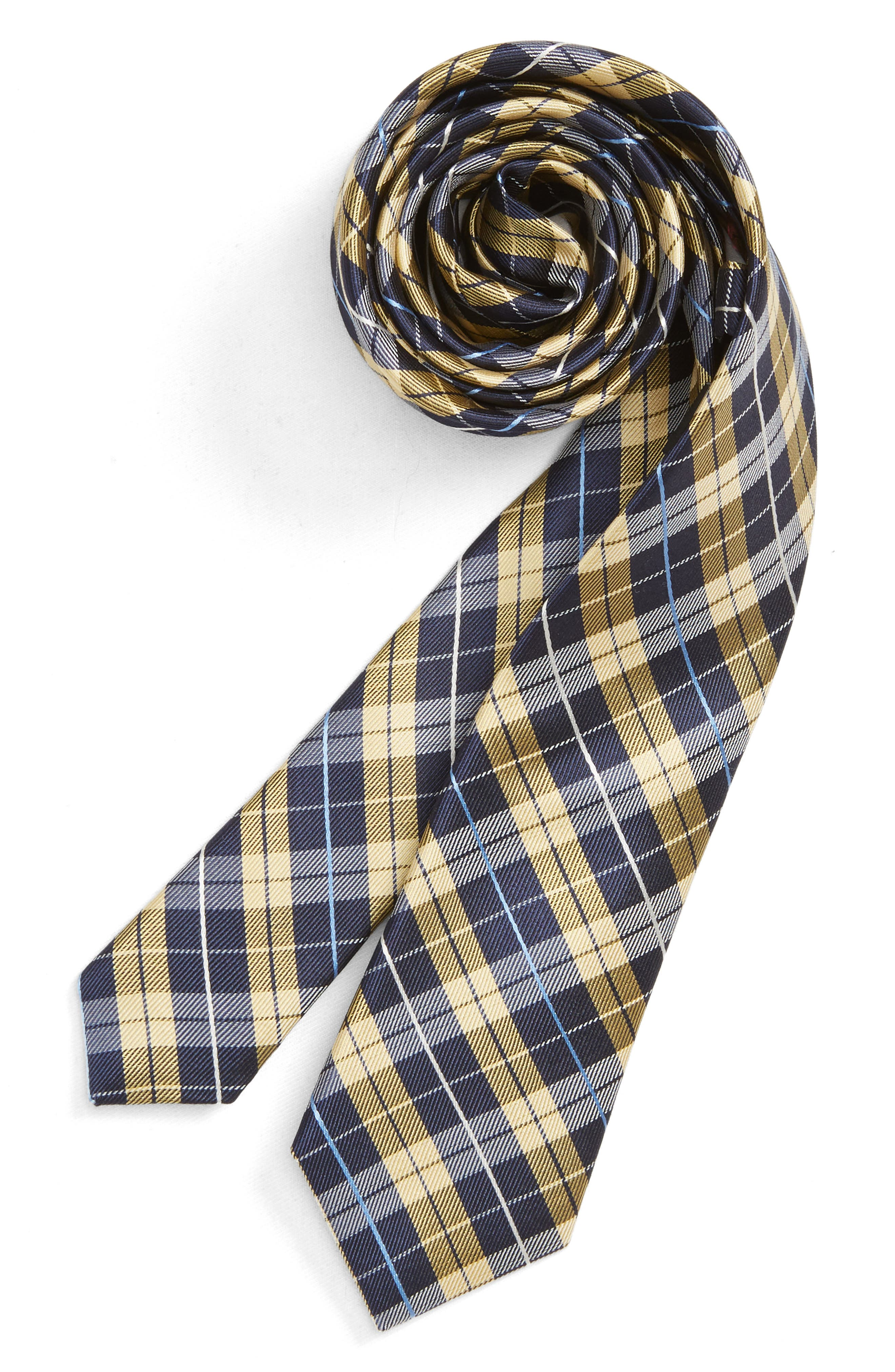 Plaid Silk Tie,                         Main,                         color, YELLOW