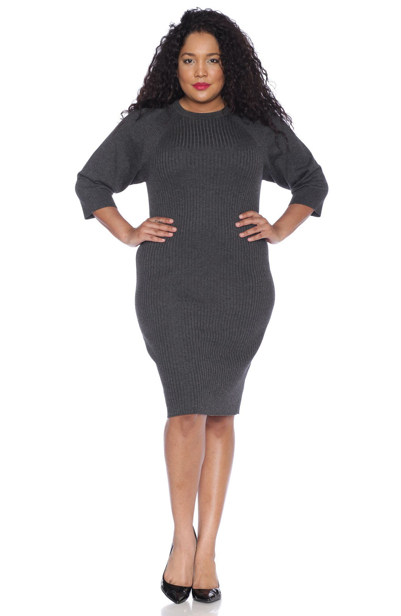 Ribbed Sweater Dress,                             Alternate thumbnail 3, color,                             DARK STONE