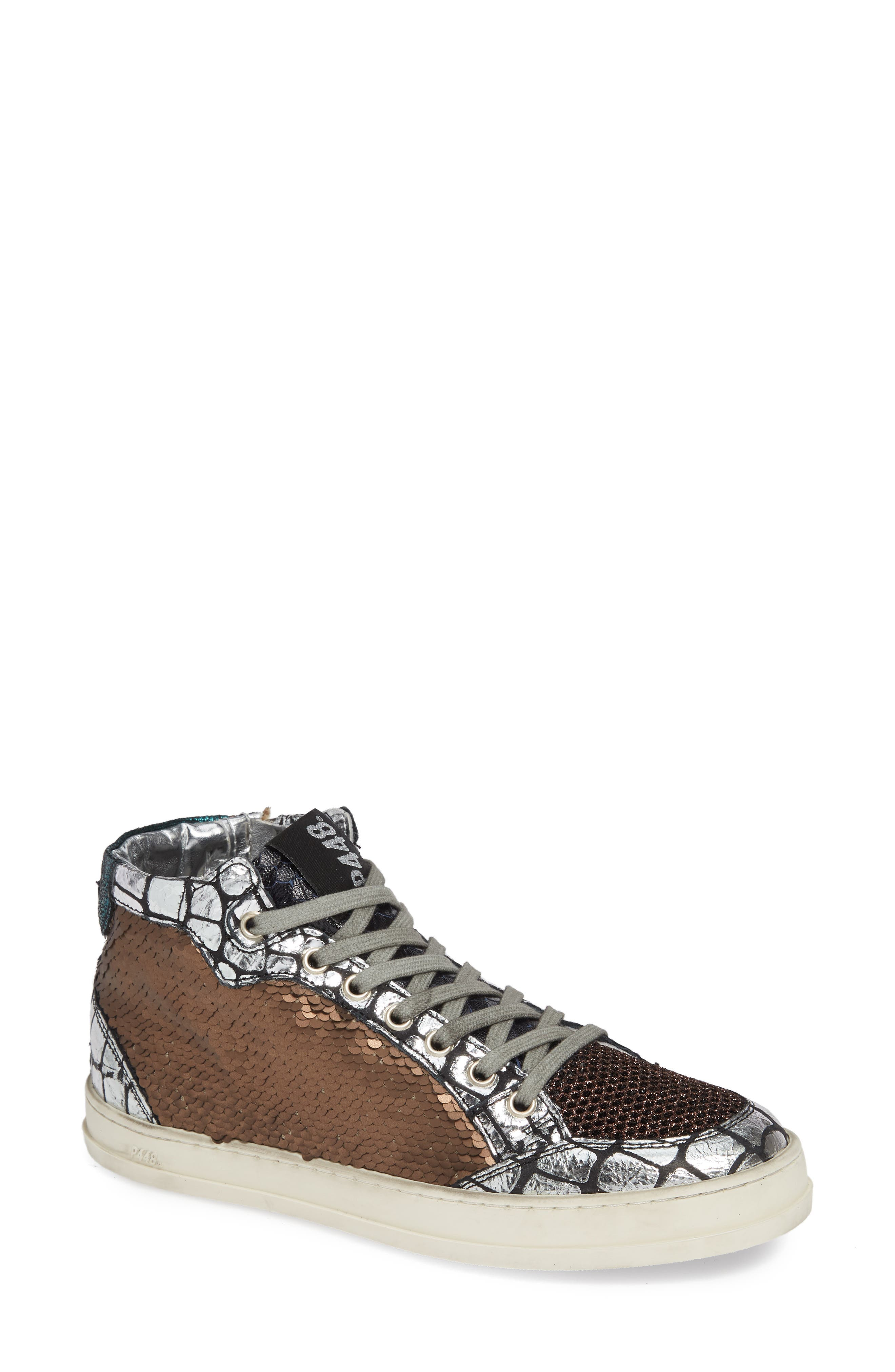 P448 Women'S Lovebs Pailettes Lace-Up High Top Sneakers in Bronze Paillettes