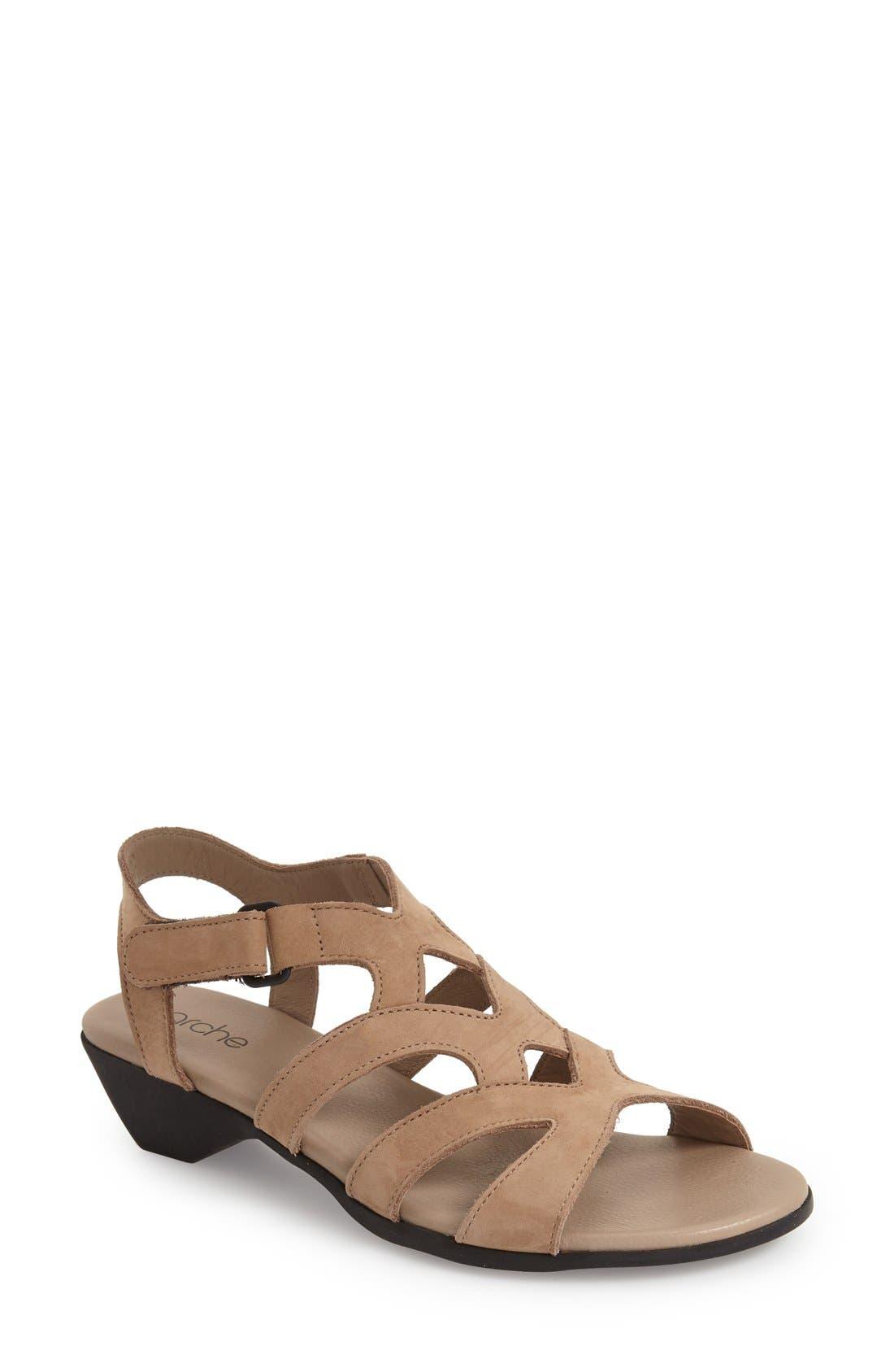 'Obela' Water Resistant Leather Sandal,                             Main thumbnail 4, color,