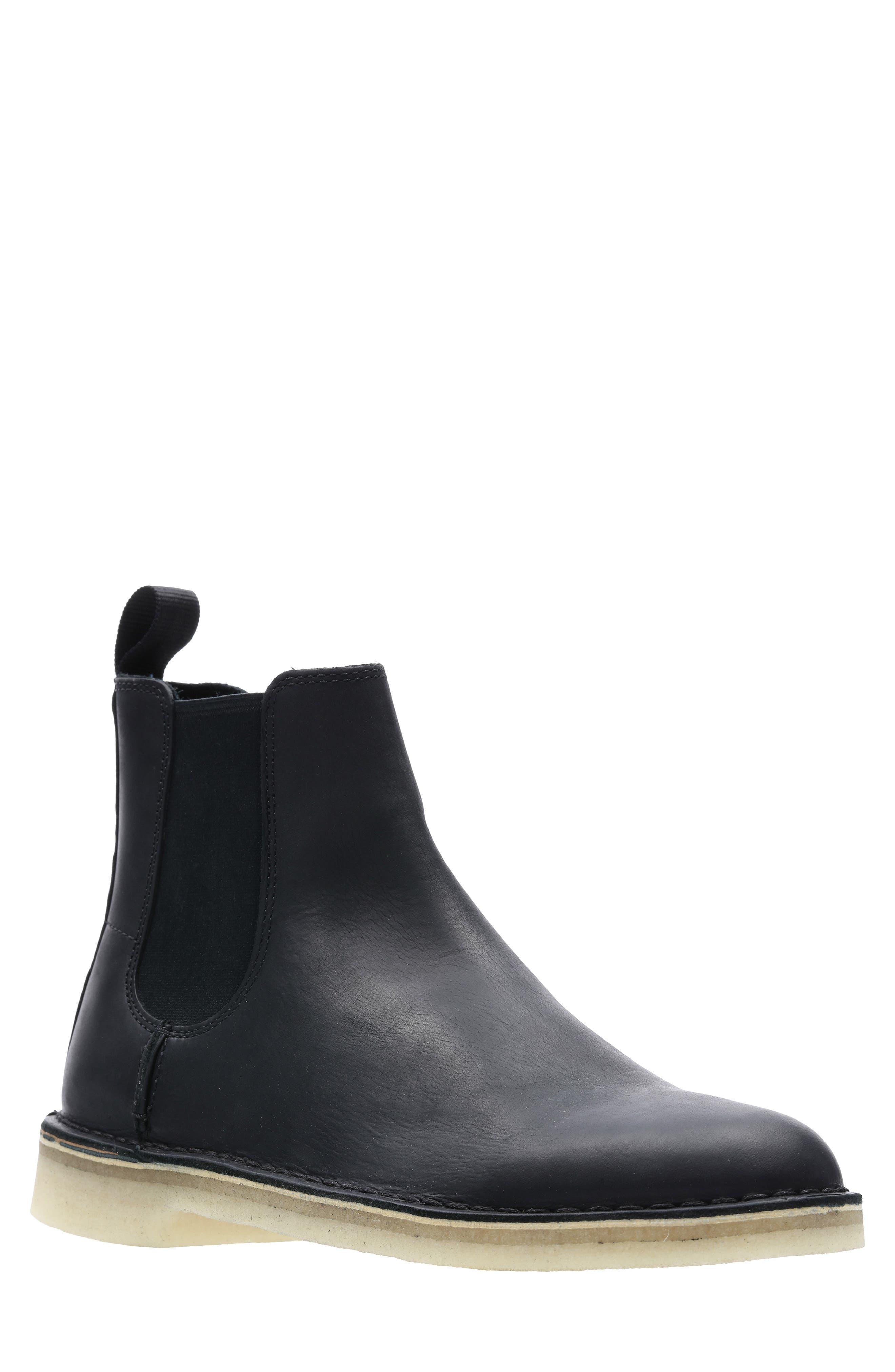 Desert Peak Chelsea Boot,                             Main thumbnail 1, color,                             BLACK/BLACK LEATHER