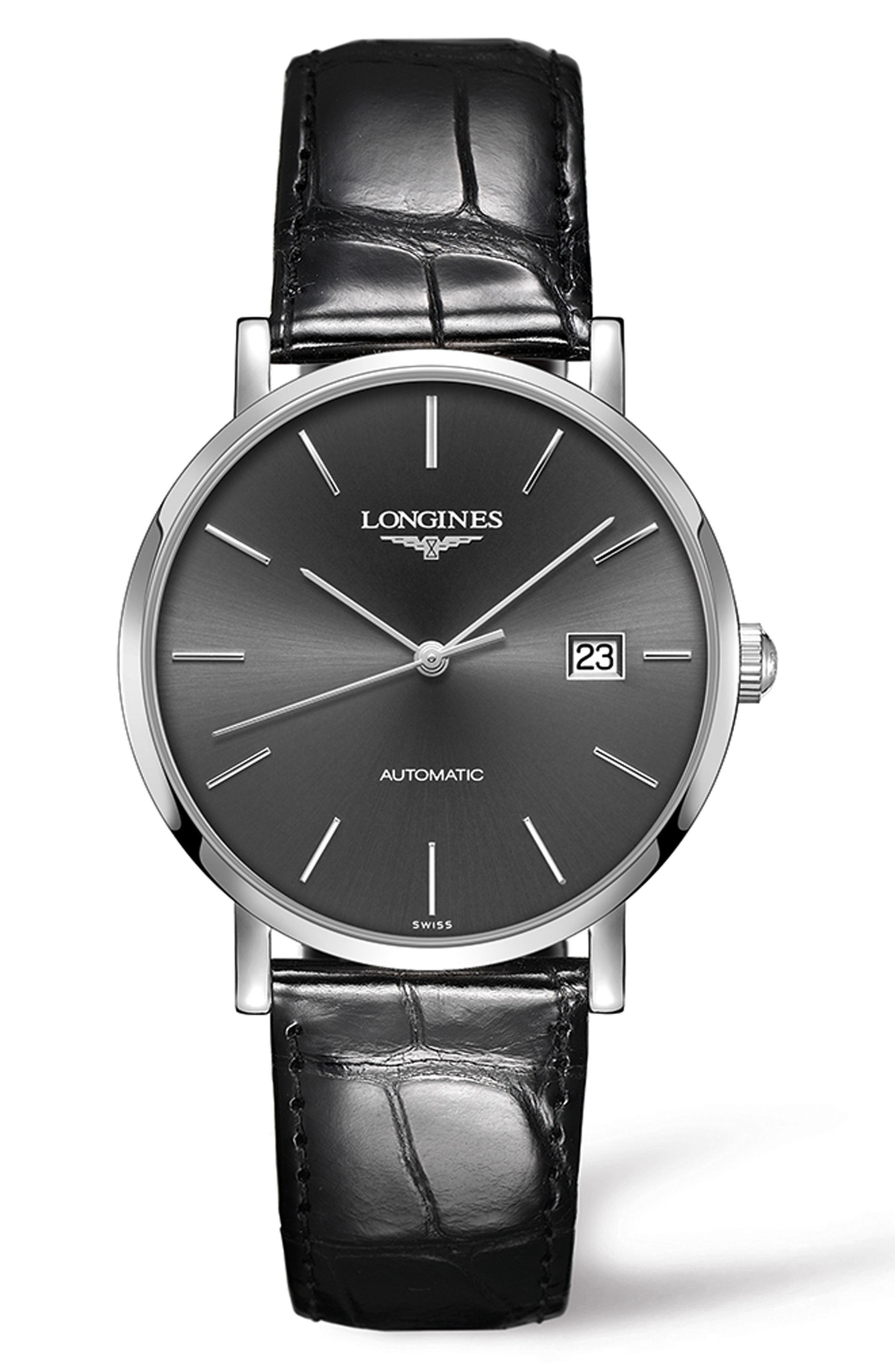 Elegant Automatic Leather Strap Watch, 39mm,                         Main,                         color, BLACK/ SILVER