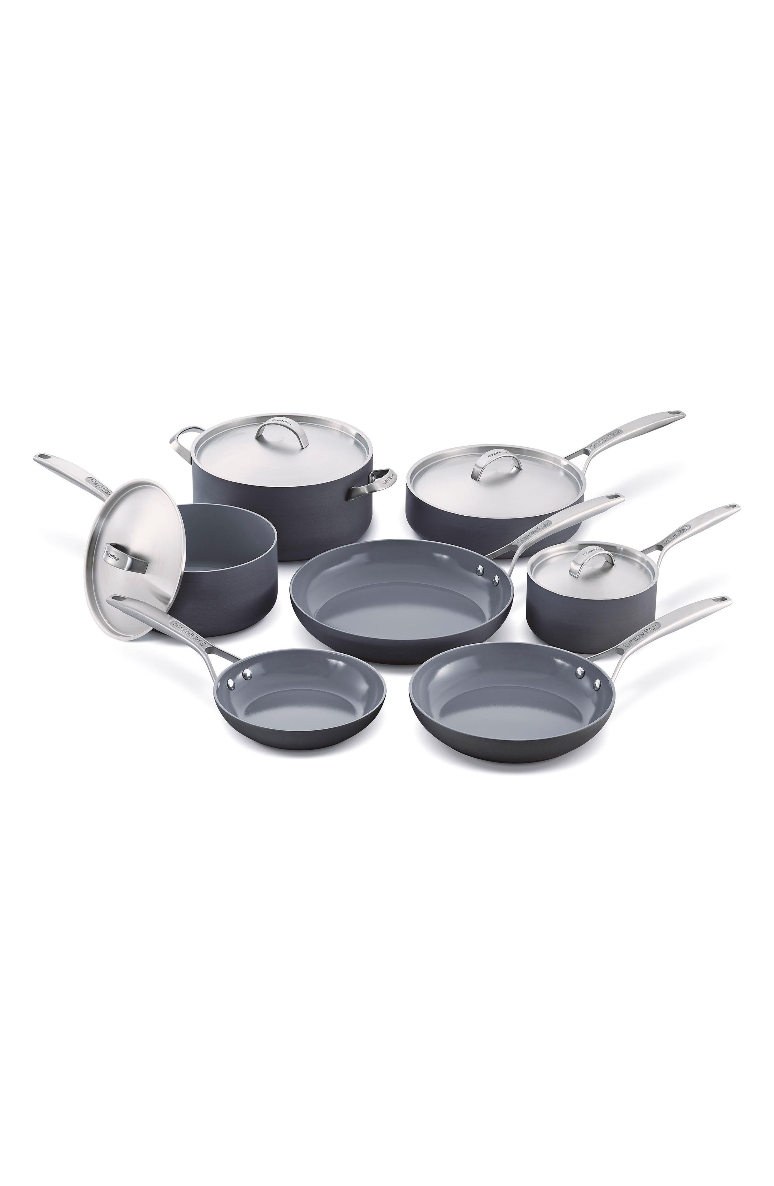 Paris Pro 11-Piece Anodized Aluminum Ceramic Cookware Set,                             Main thumbnail 1, color,                             GREY