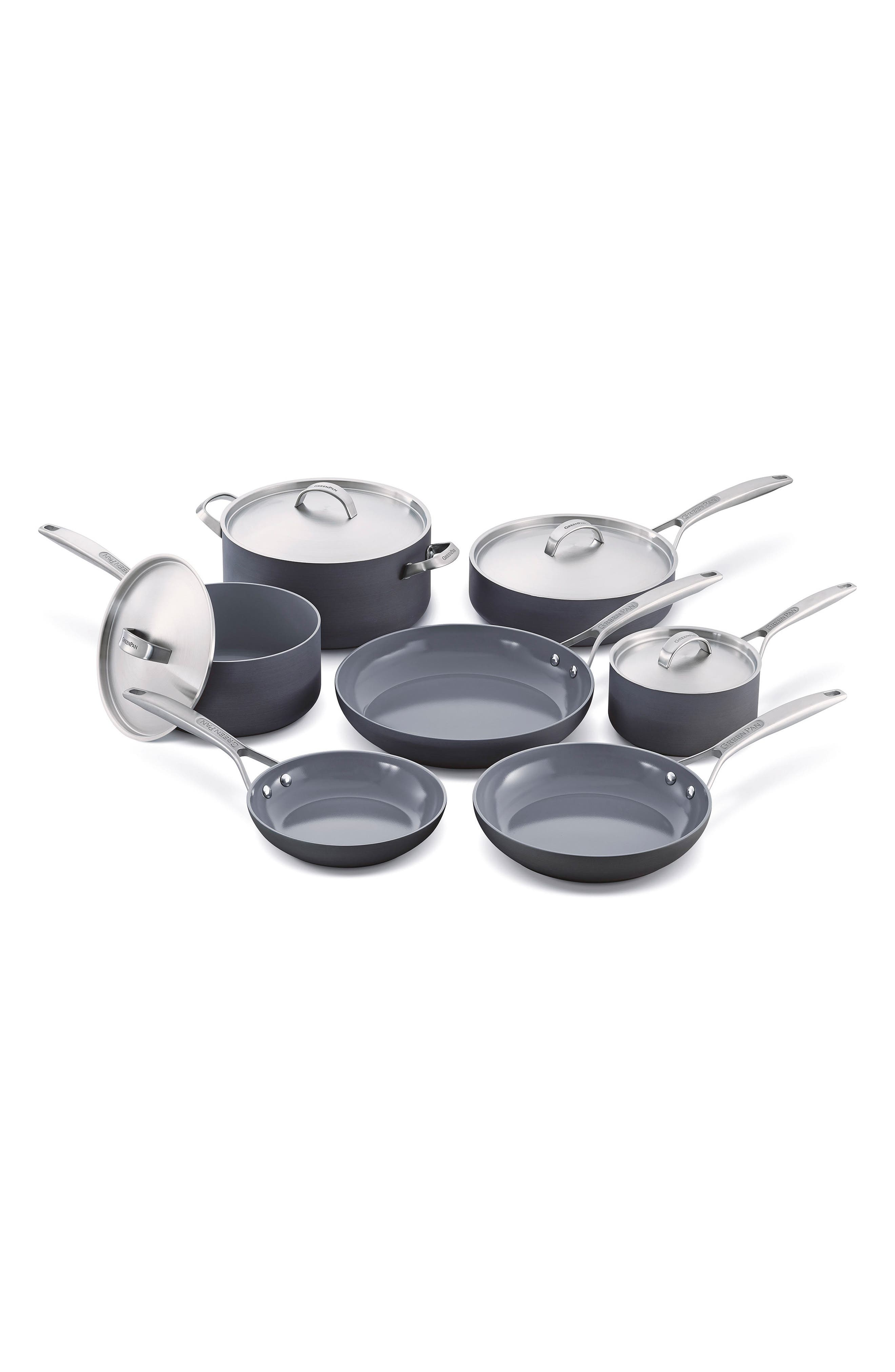 Paris Pro 11-Piece Anodized Aluminum Ceramic Cookware Set, Main, color, GREY