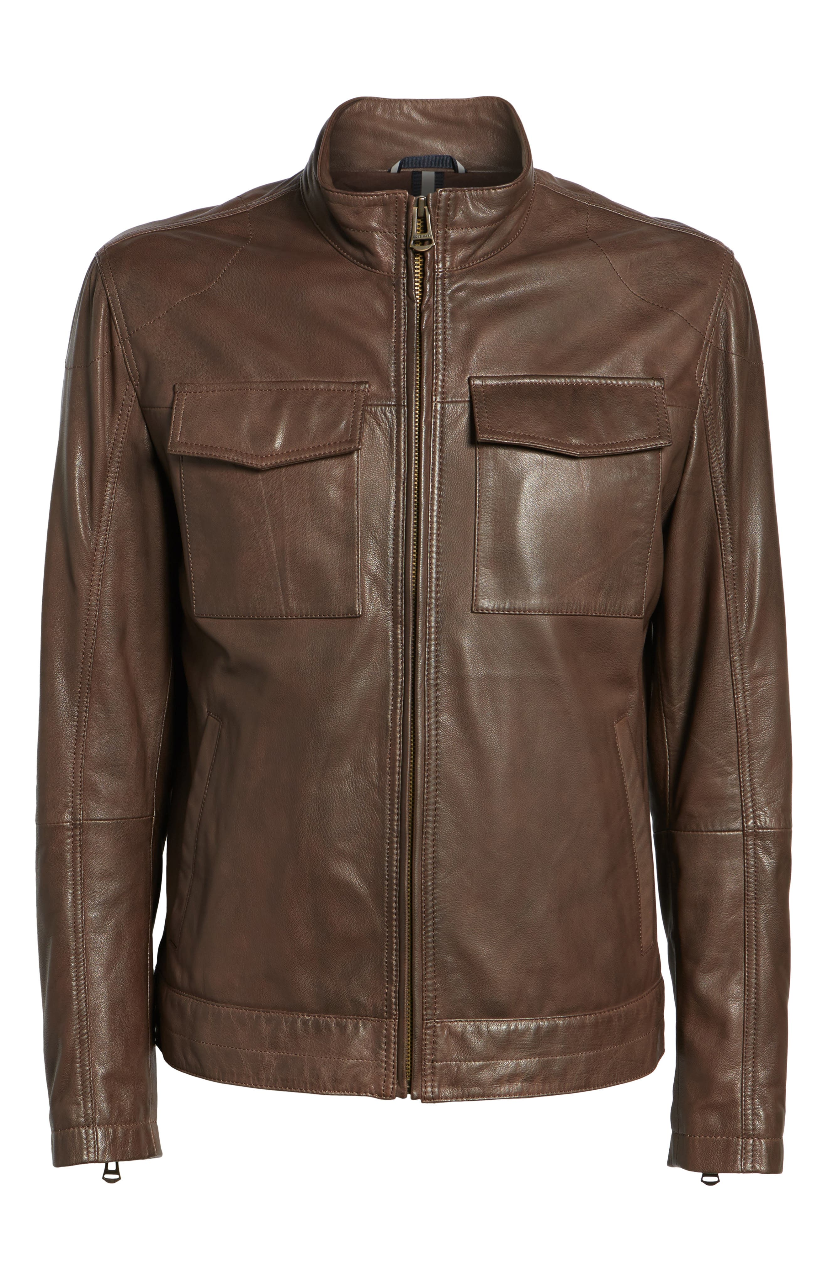 Washed Leather Trucker Jacket,                             Alternate thumbnail 5, color,                             BROWN