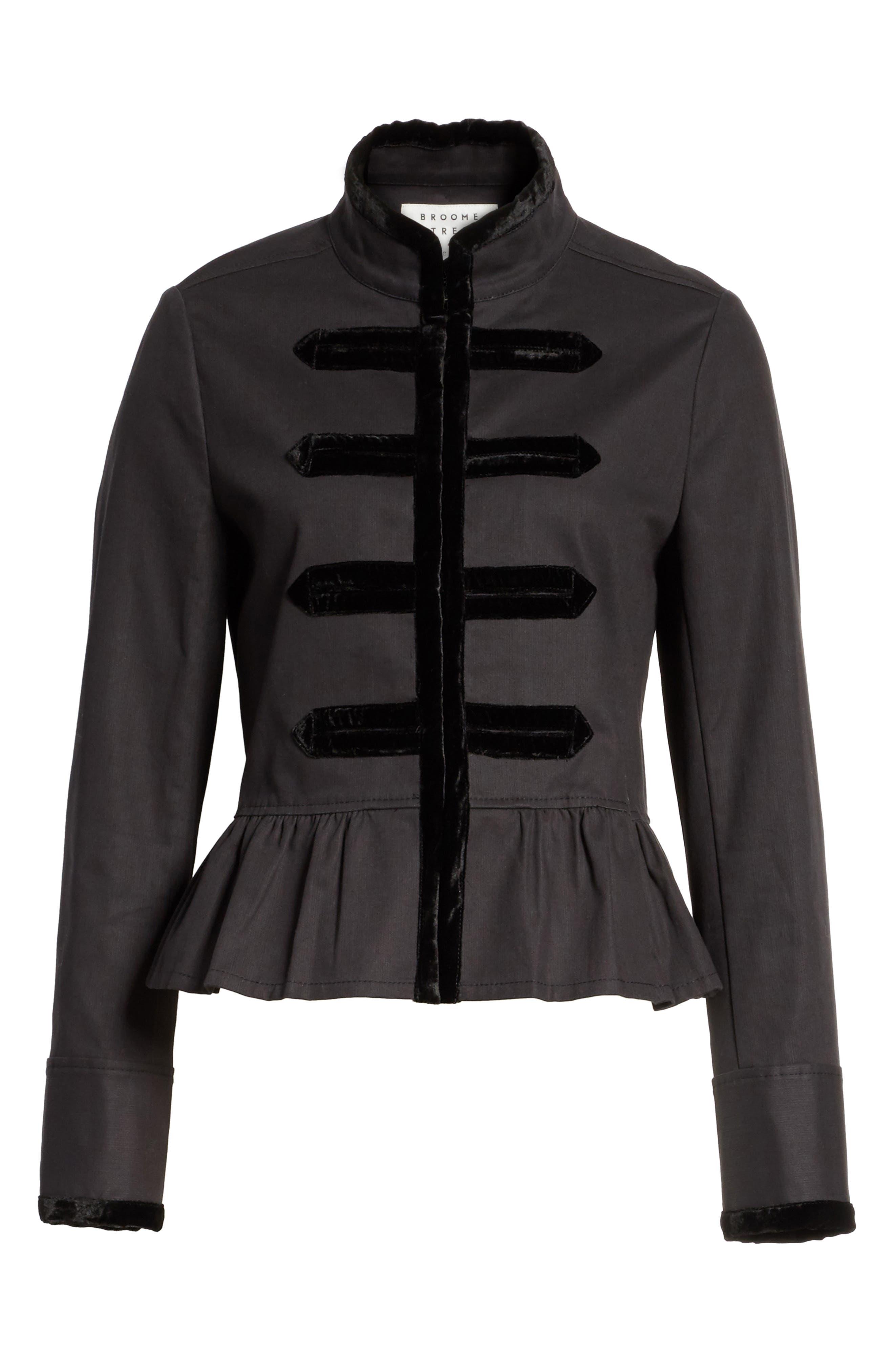 velvet trim military jacket,                             Alternate thumbnail 5, color,                             001