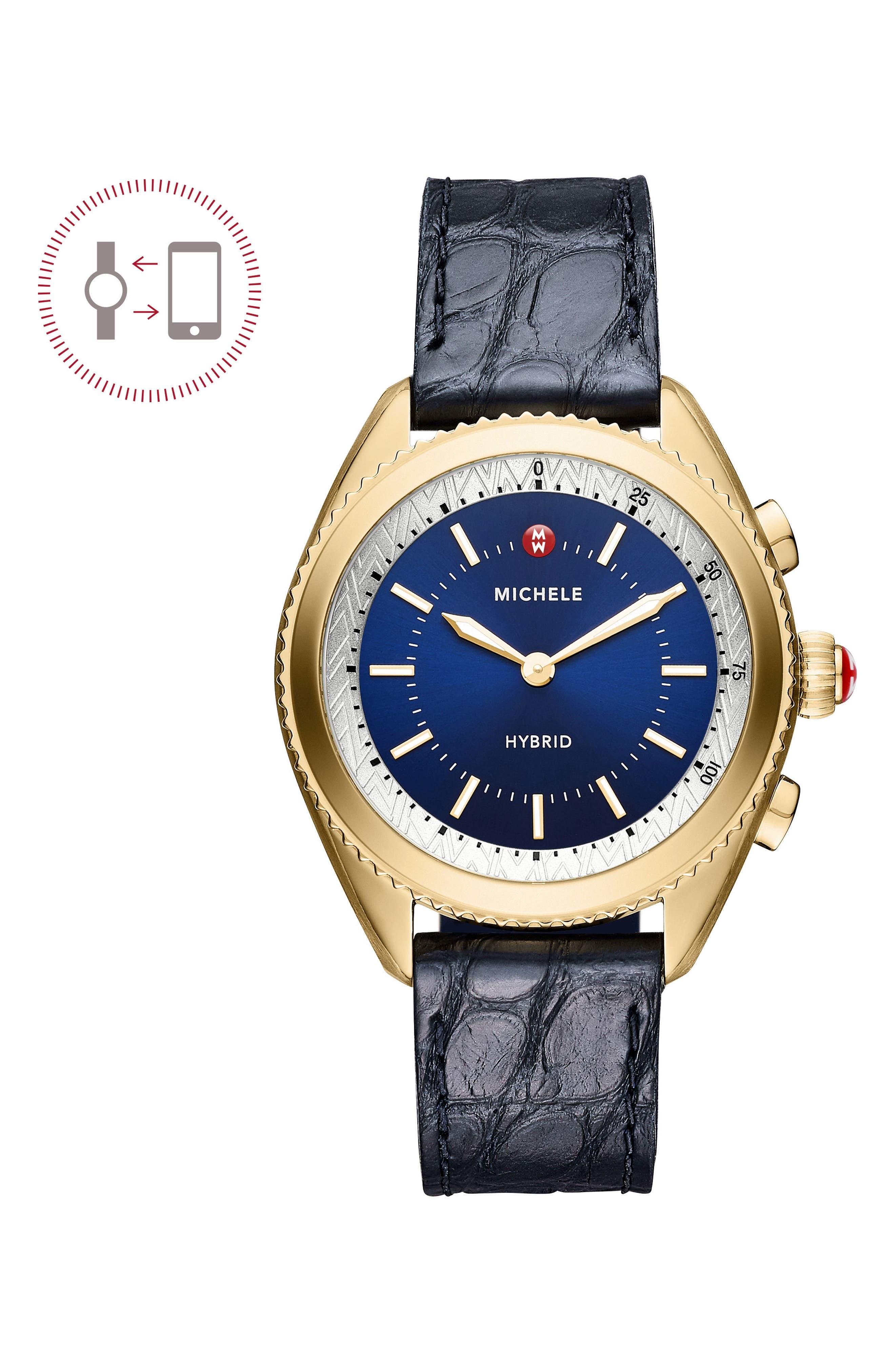 Hybrid Tracker Watch, 38mm,                             Main thumbnail 1, color,                             NAVY/ GOLD