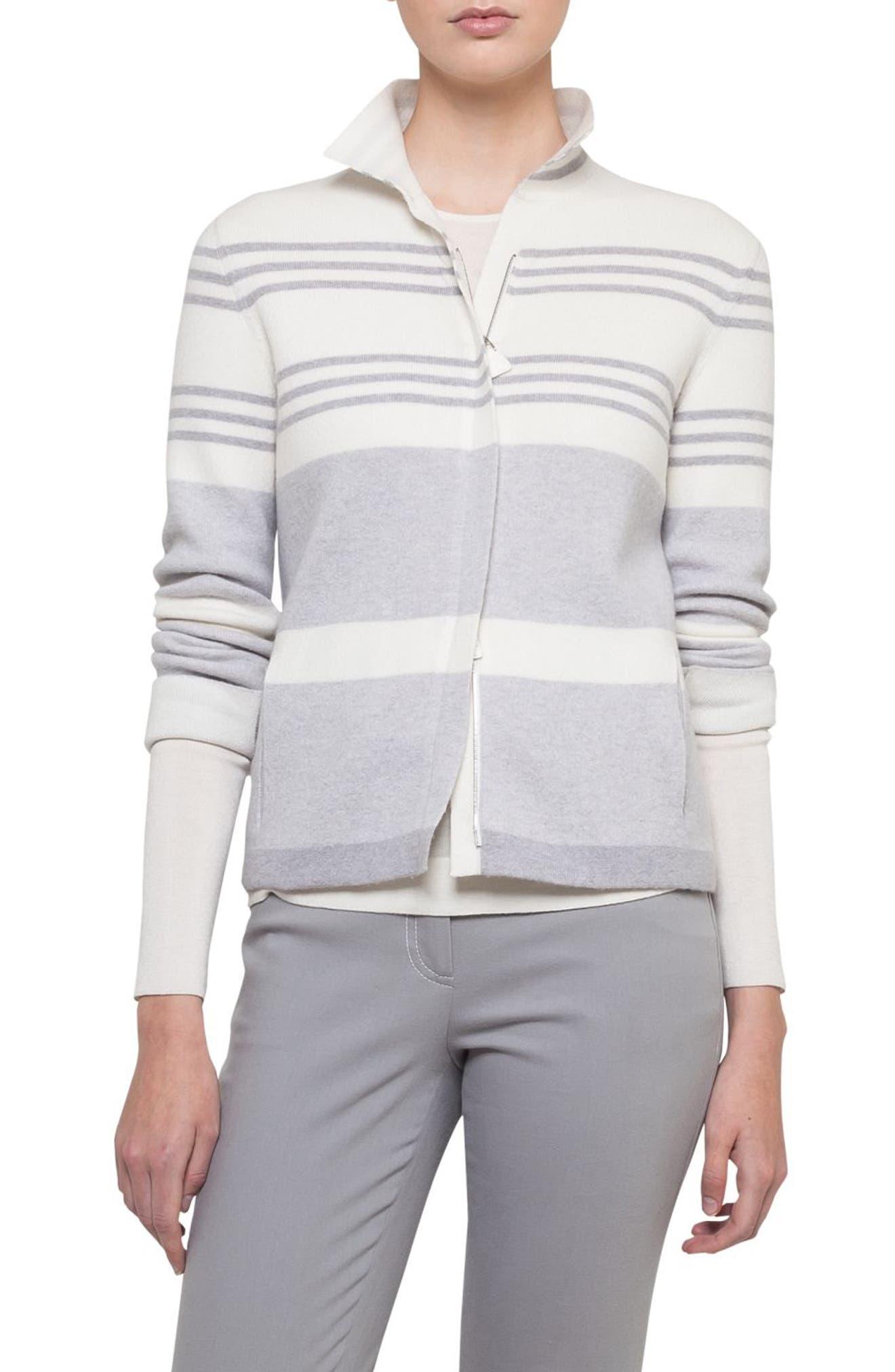 Stripe Knit Cashmere Jacket,                             Main thumbnail 1, color,                             020