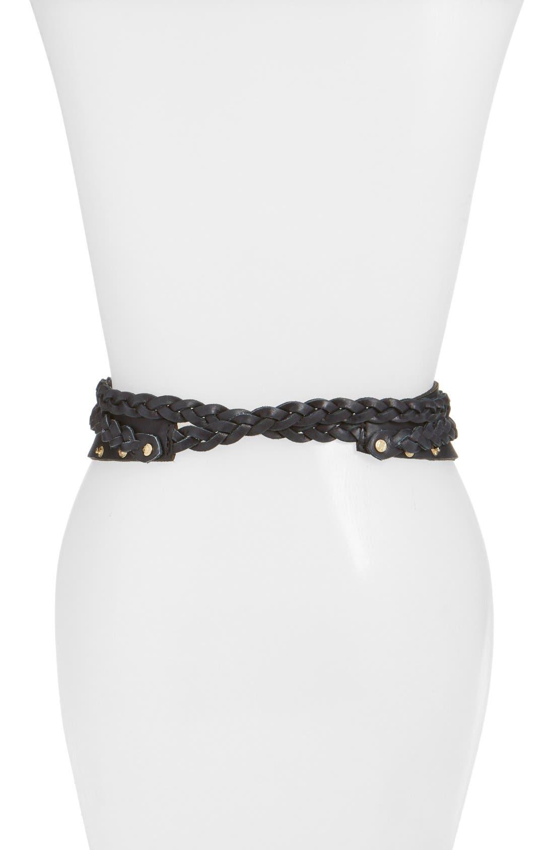 'Dakota' Braided Leather Wrap Belt,                             Alternate thumbnail 2, color,                             001