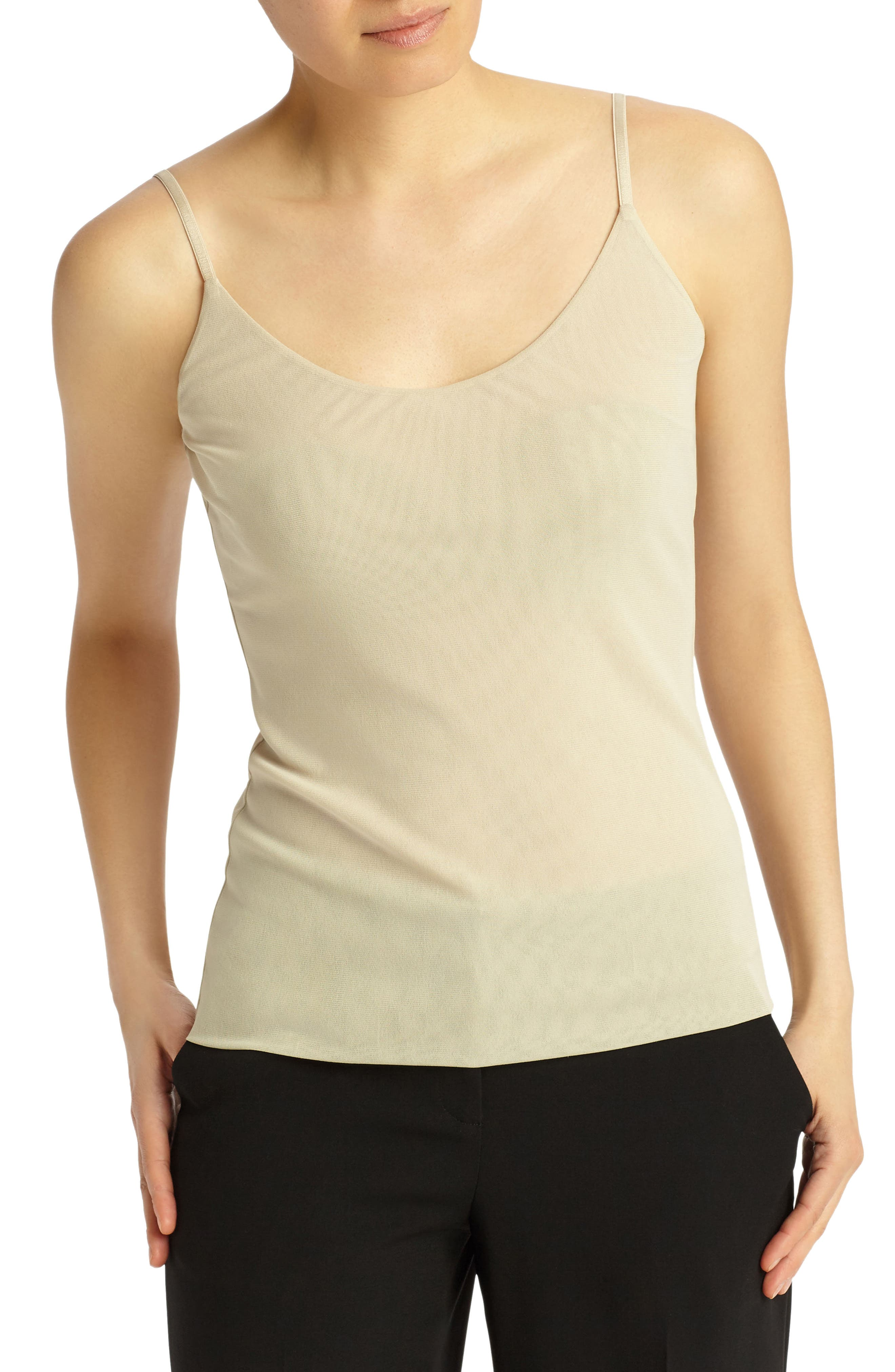 LAFAYETTE 148 NEW YORK Mesh Jersey Camisole, Main, color, KHAKI