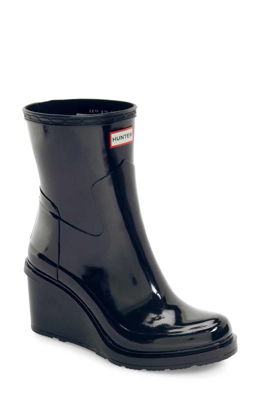 Original Refined Wedge Rain Boot,                             Main thumbnail 1, color,                             001