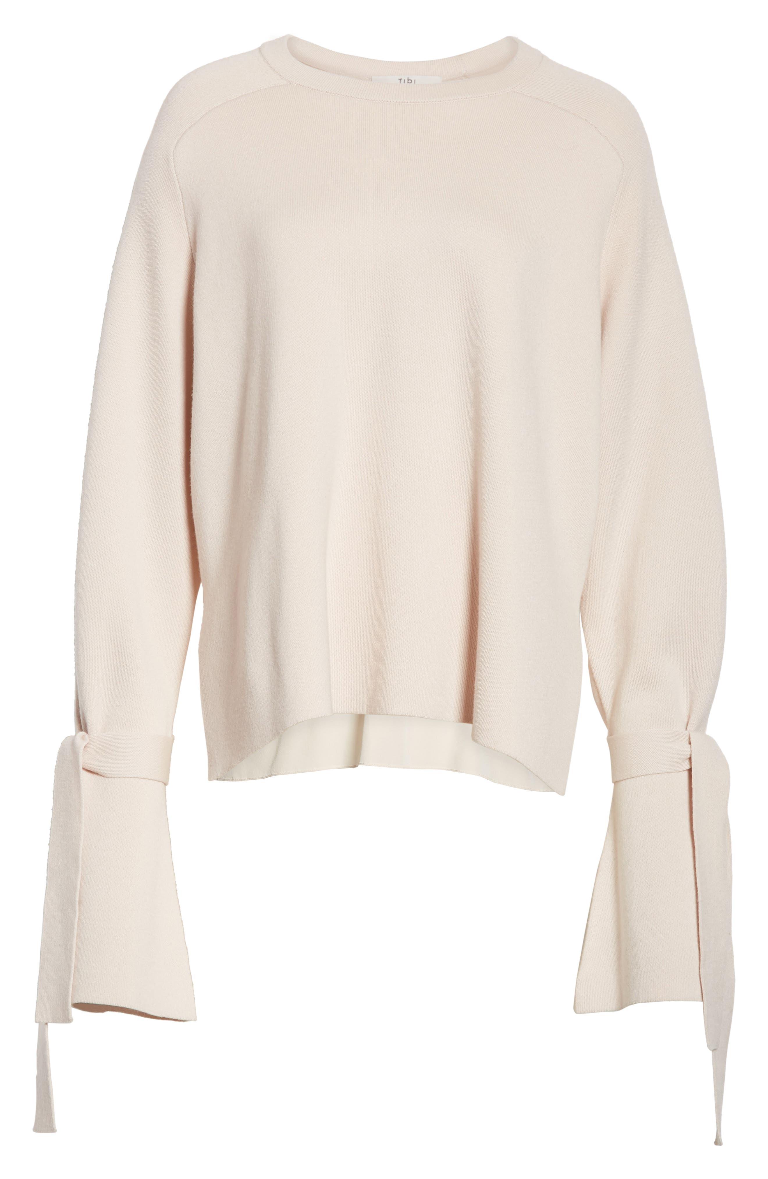 Merino Wool & Silk Bell Sleeve Pullover,                             Alternate thumbnail 12, color,
