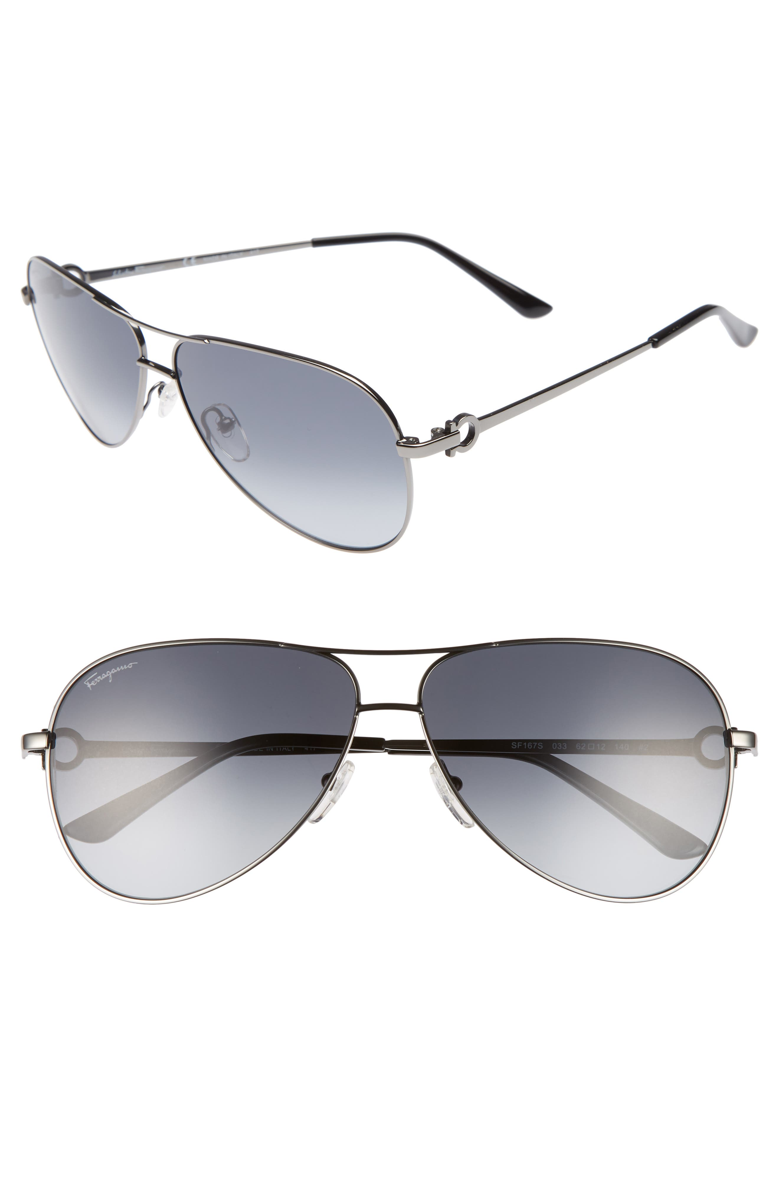 Gancio 62mm Aviator Sunglasses,                             Main thumbnail 1, color,                             SHINY DARK GUNMETAL