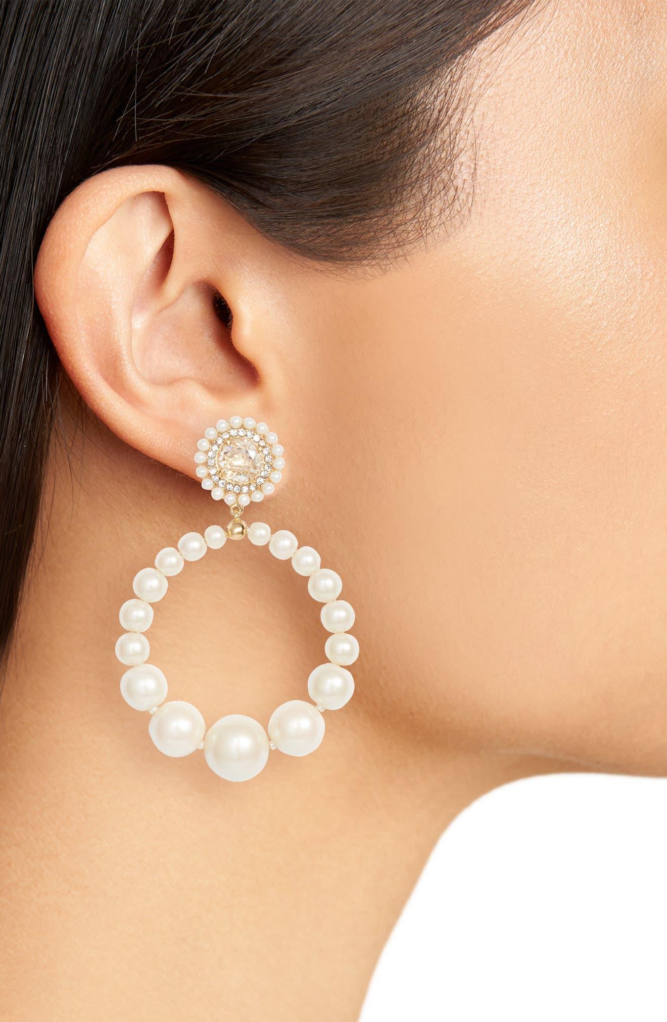 imitation pearl frontal hoop earrings,                             Alternate thumbnail 2, color,                             143