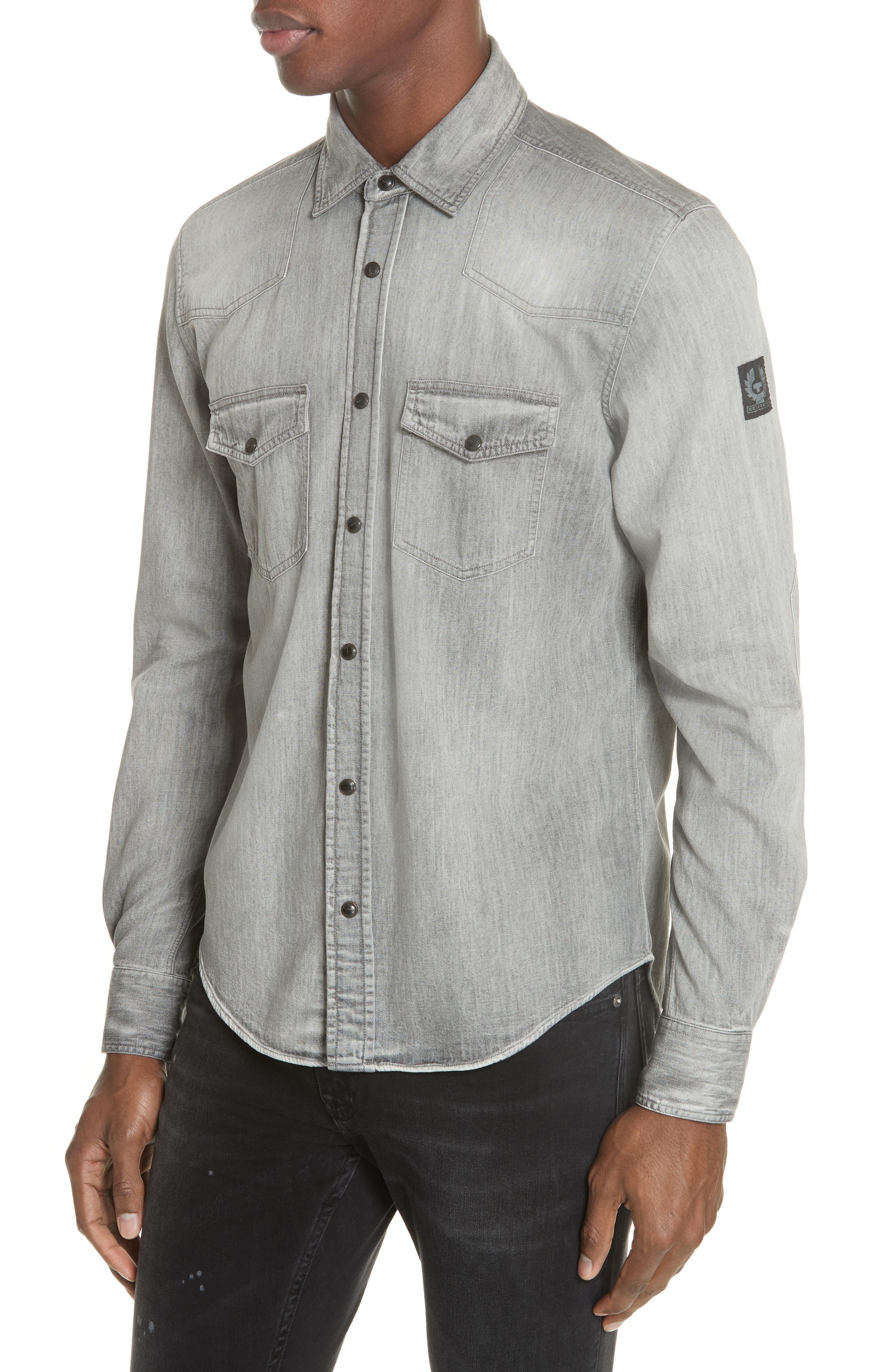 BELSTAFF Somerford Regular Fit Button-Down Shirt in Grey