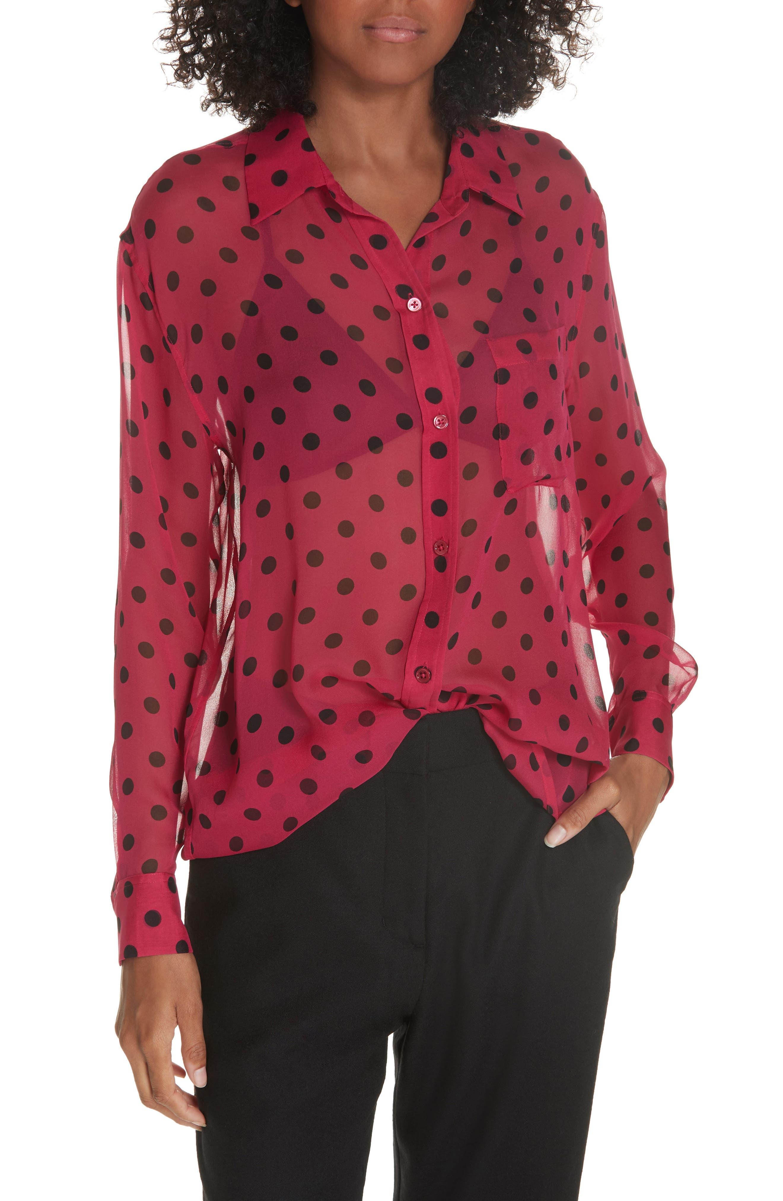 Daddy Polka Dot Silk Shirt,                             Main thumbnail 1, color,                             AMARANTH TRUE BLACK