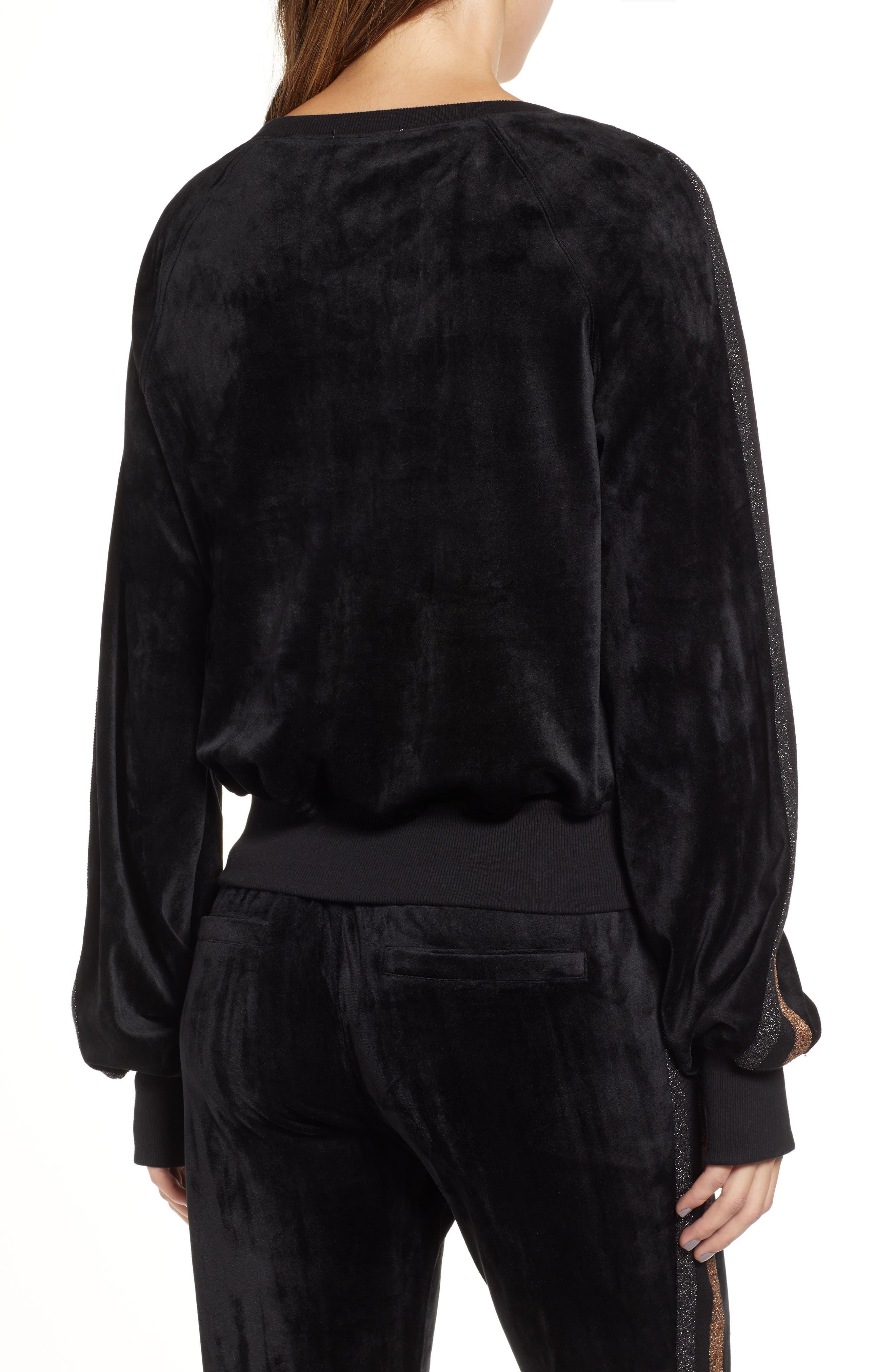 Crop Stripe Sleeve Sweatshirt,                             Alternate thumbnail 2, color,                             BLACK