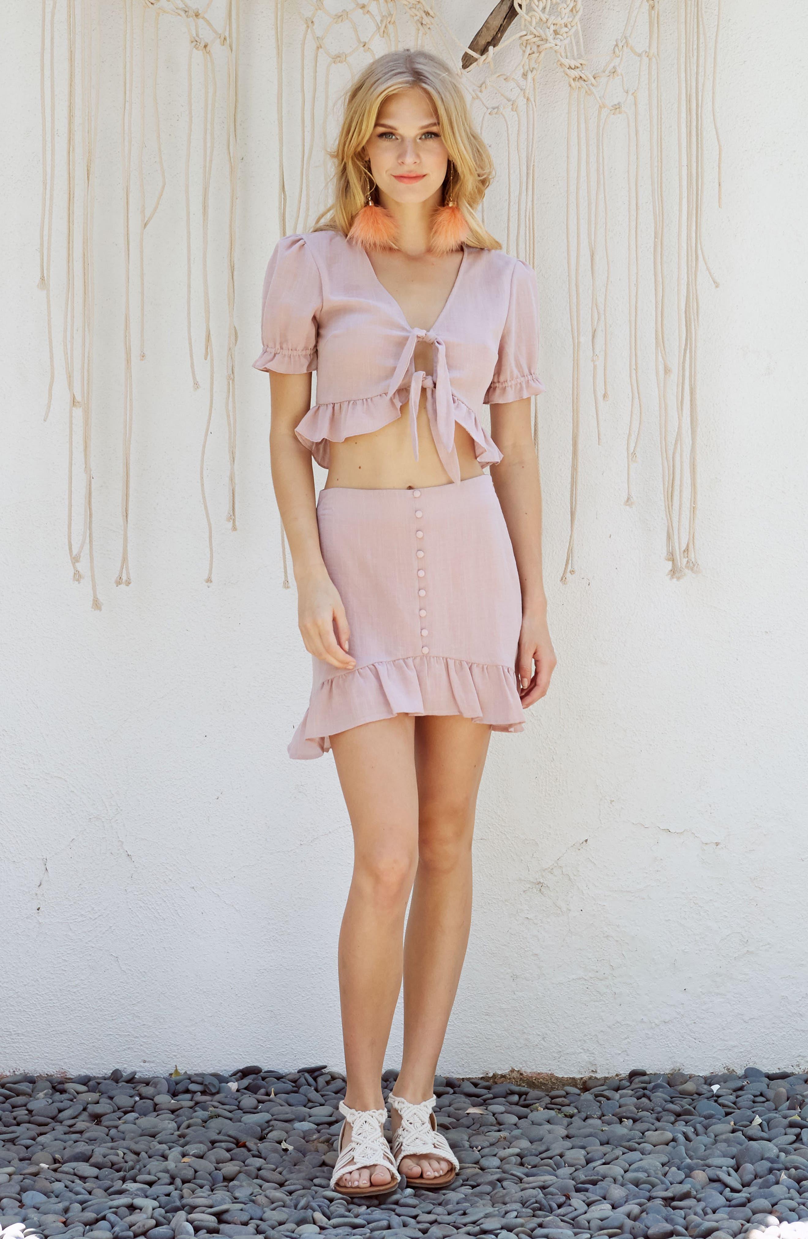 Peony Ruffle Hem Skirt,                             Alternate thumbnail 8, color,                             681