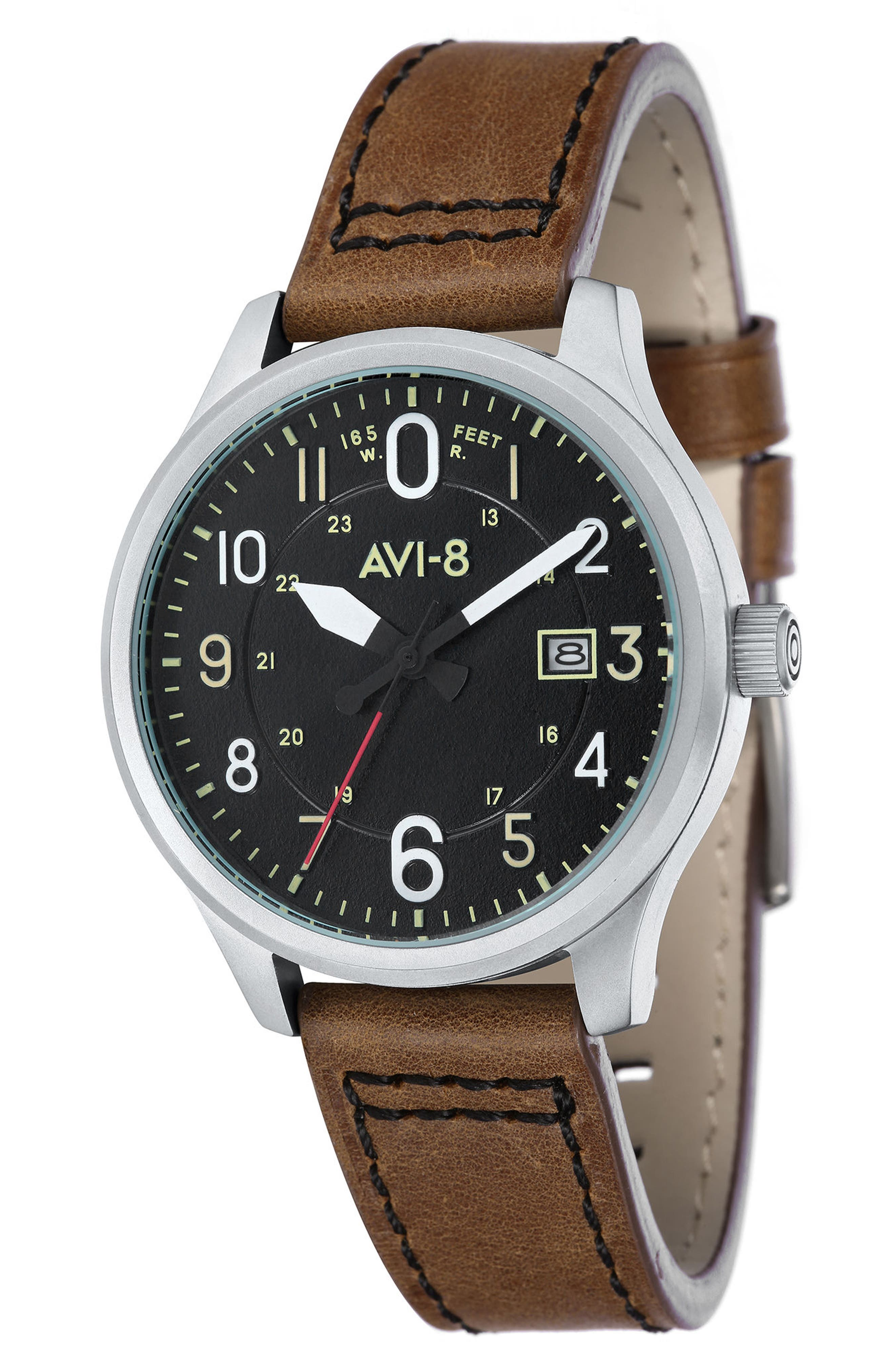 Hawker Hurricane Leather Strap Watch, 43mm,                             Main thumbnail 1, color,                             200