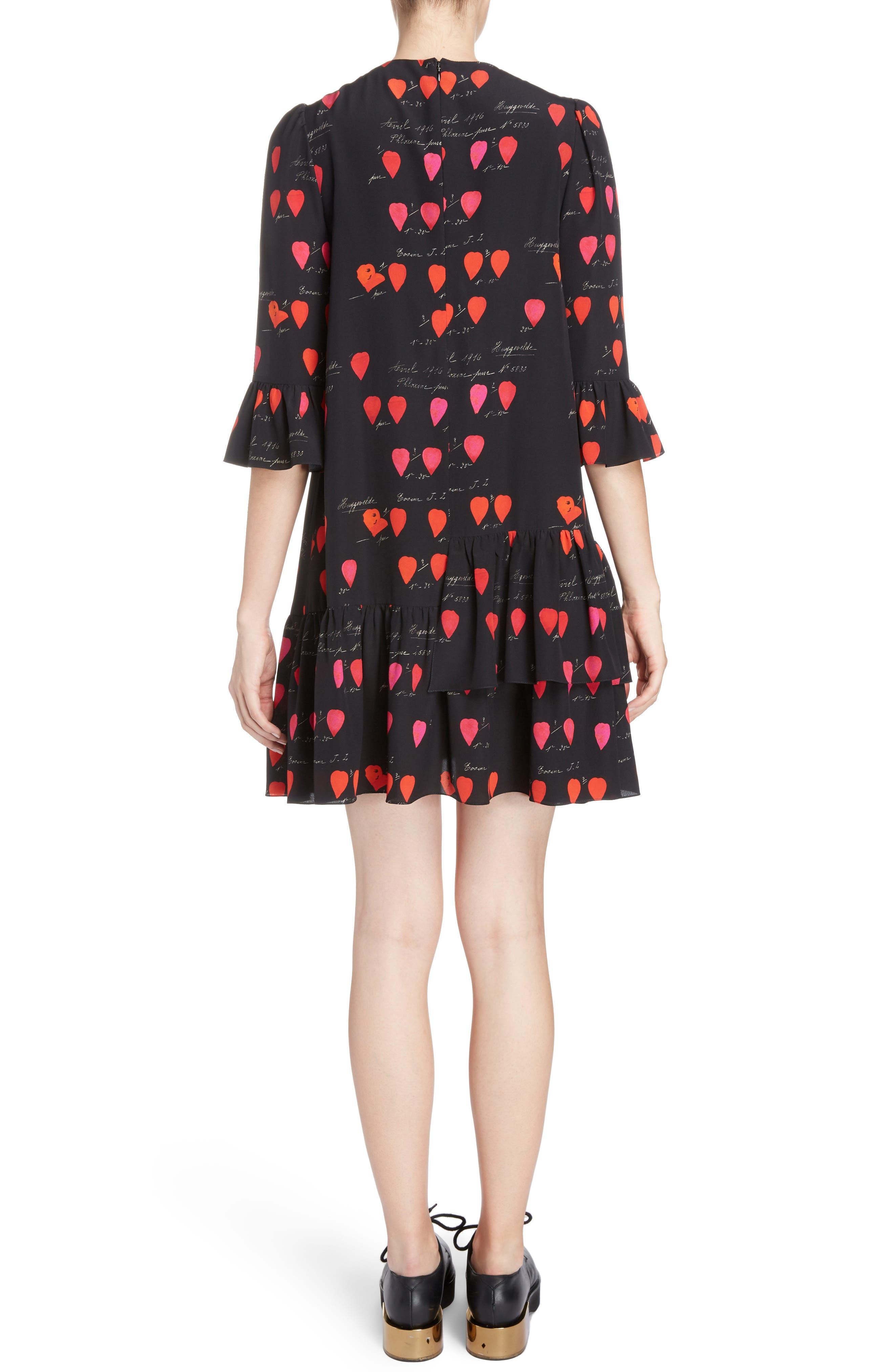Petal Print Silk Ruffle Dress,                             Alternate thumbnail 2, color,                             007