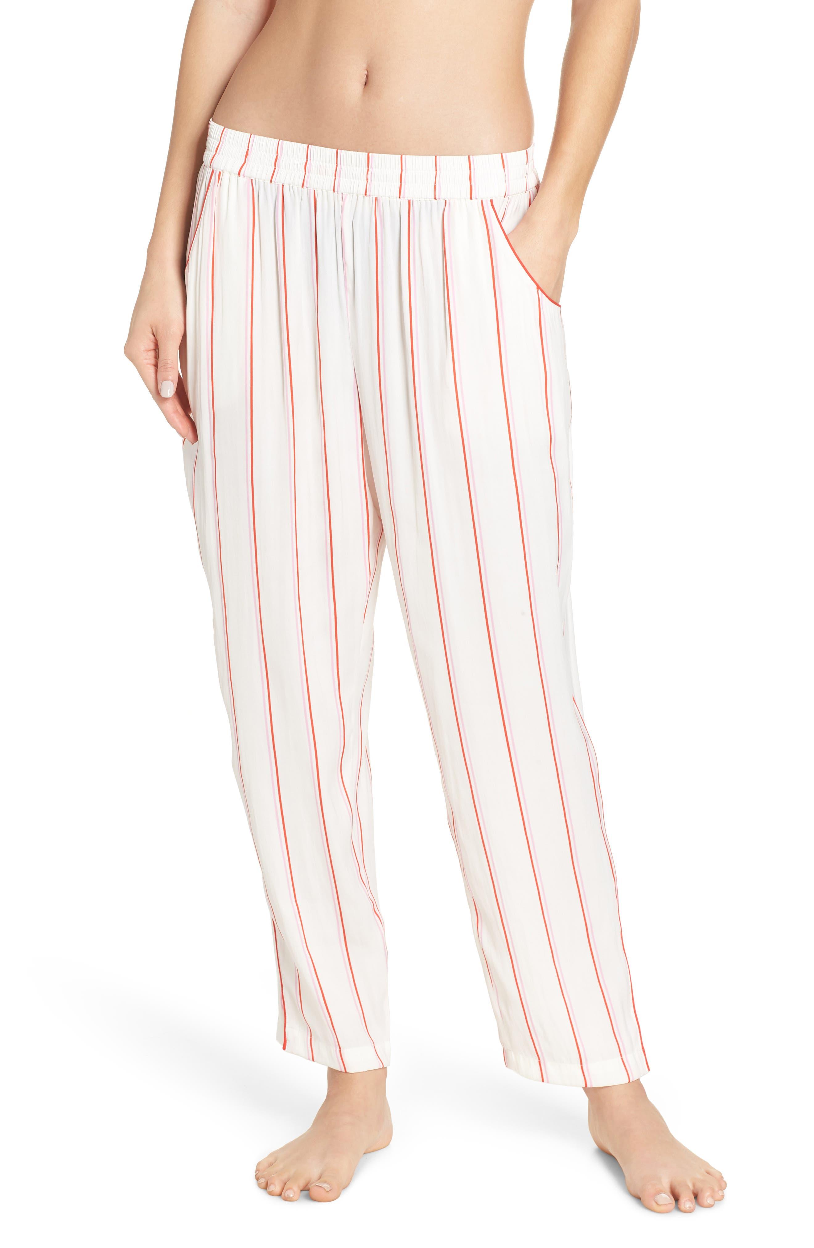 Something Navy Satin Pajama Pants, Ivory
