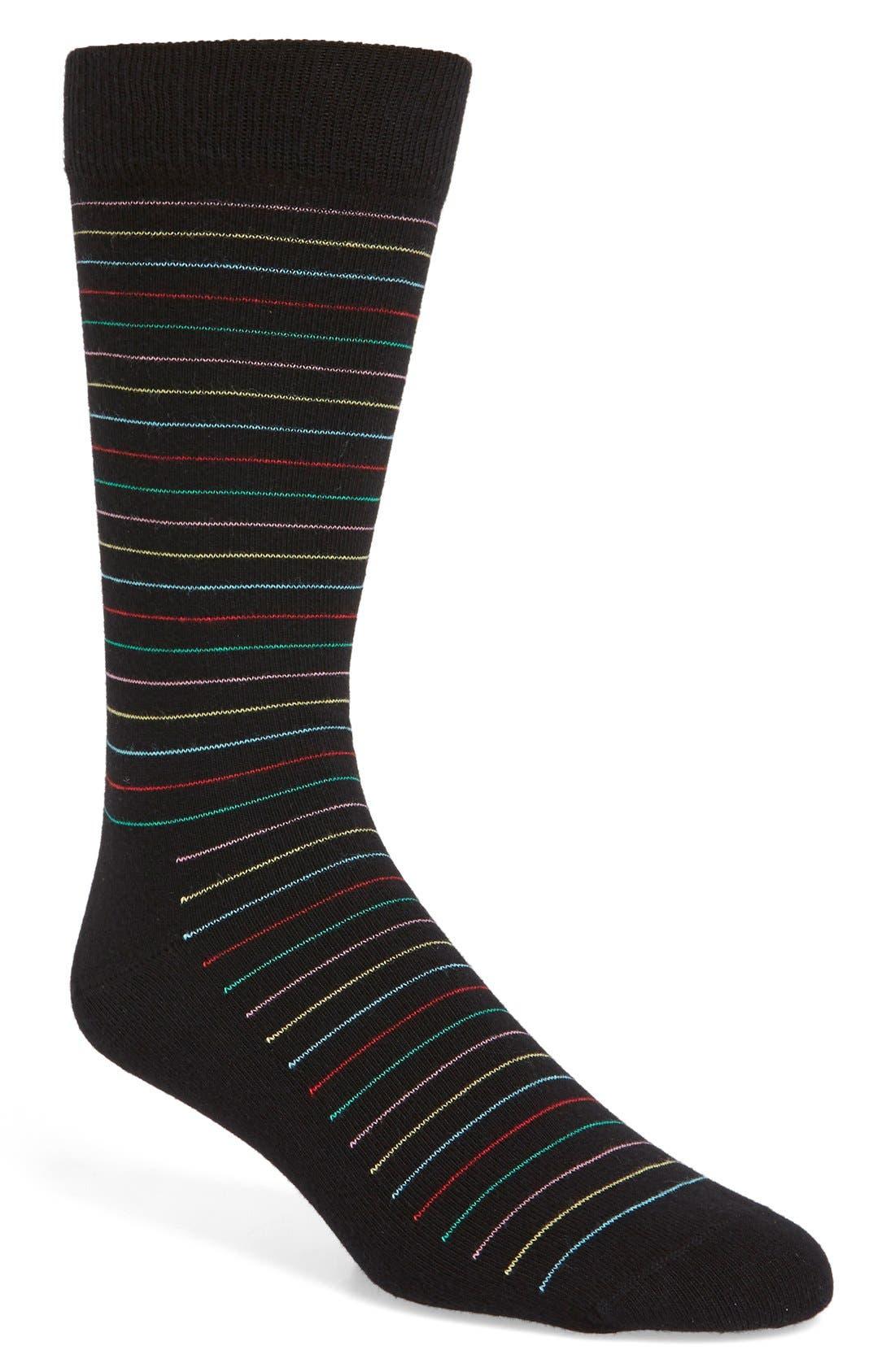 Thin Stripe Socks,                             Main thumbnail 1, color,                             001