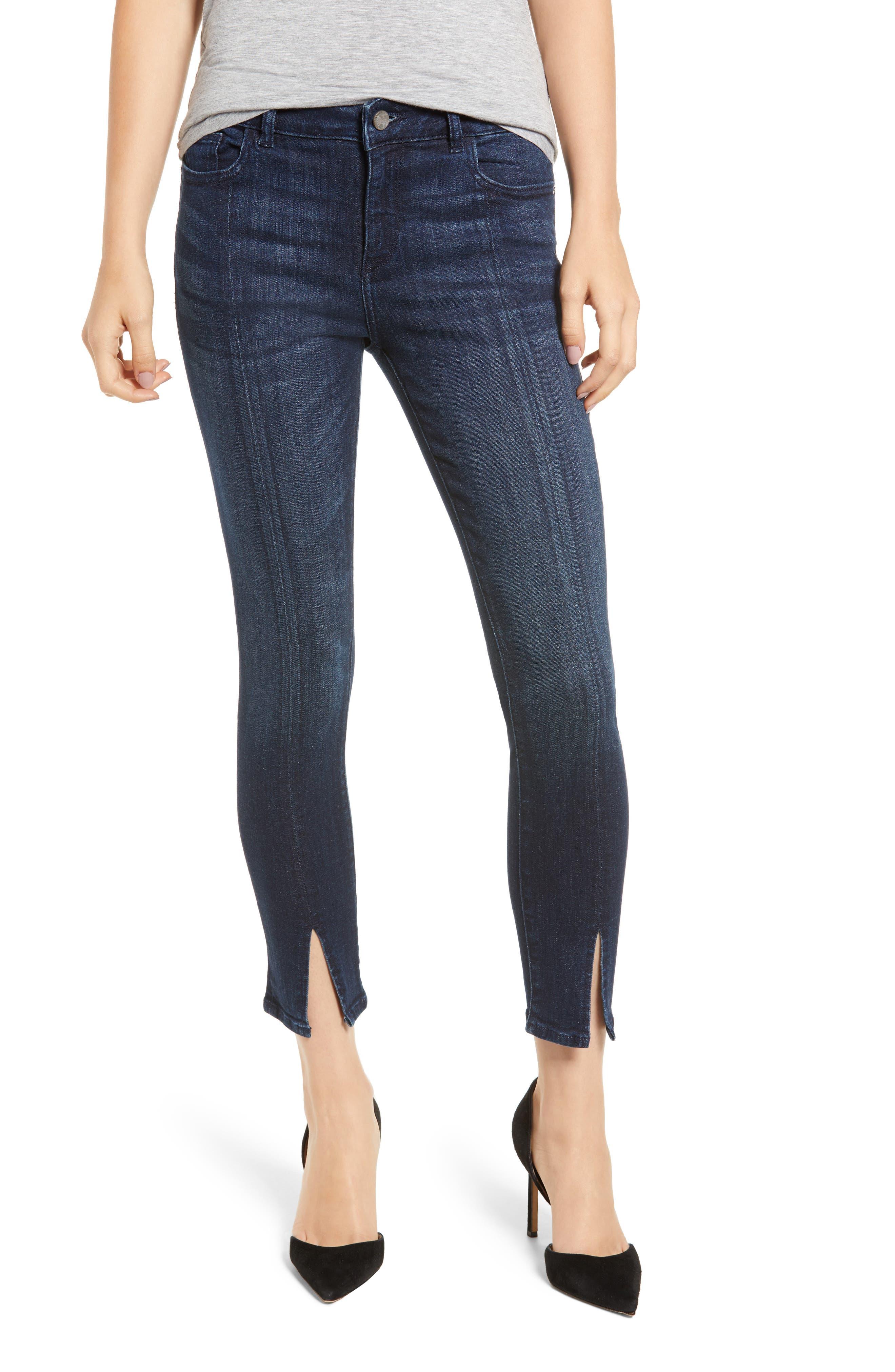 Florence Instasculpt Split Hem Crop Skinny Jeans,                         Main,                         color, ALDRIDGE