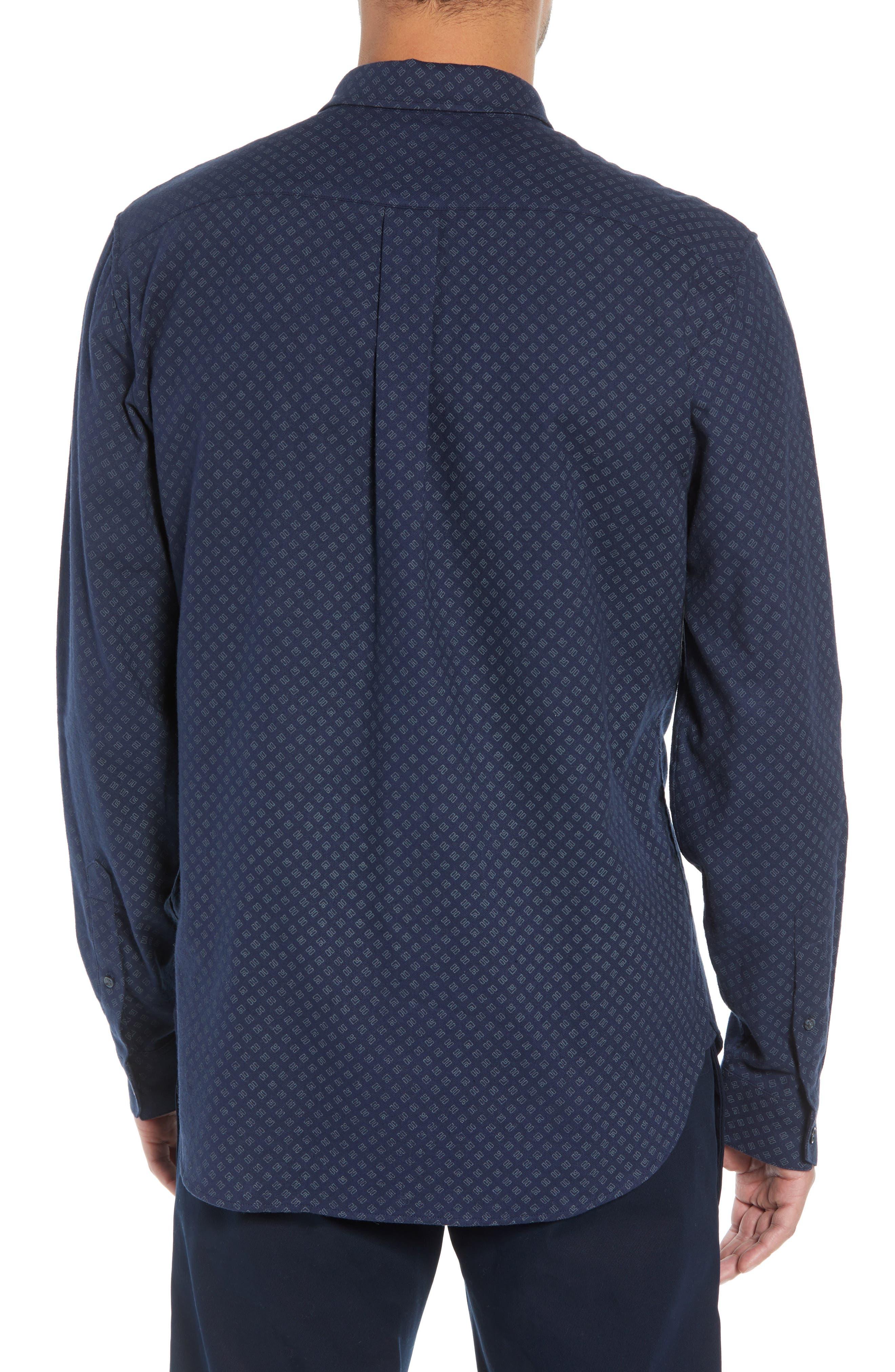 Classic Fit Square Print Sport Shirt,                             Alternate thumbnail 3, color,                             COASTAL