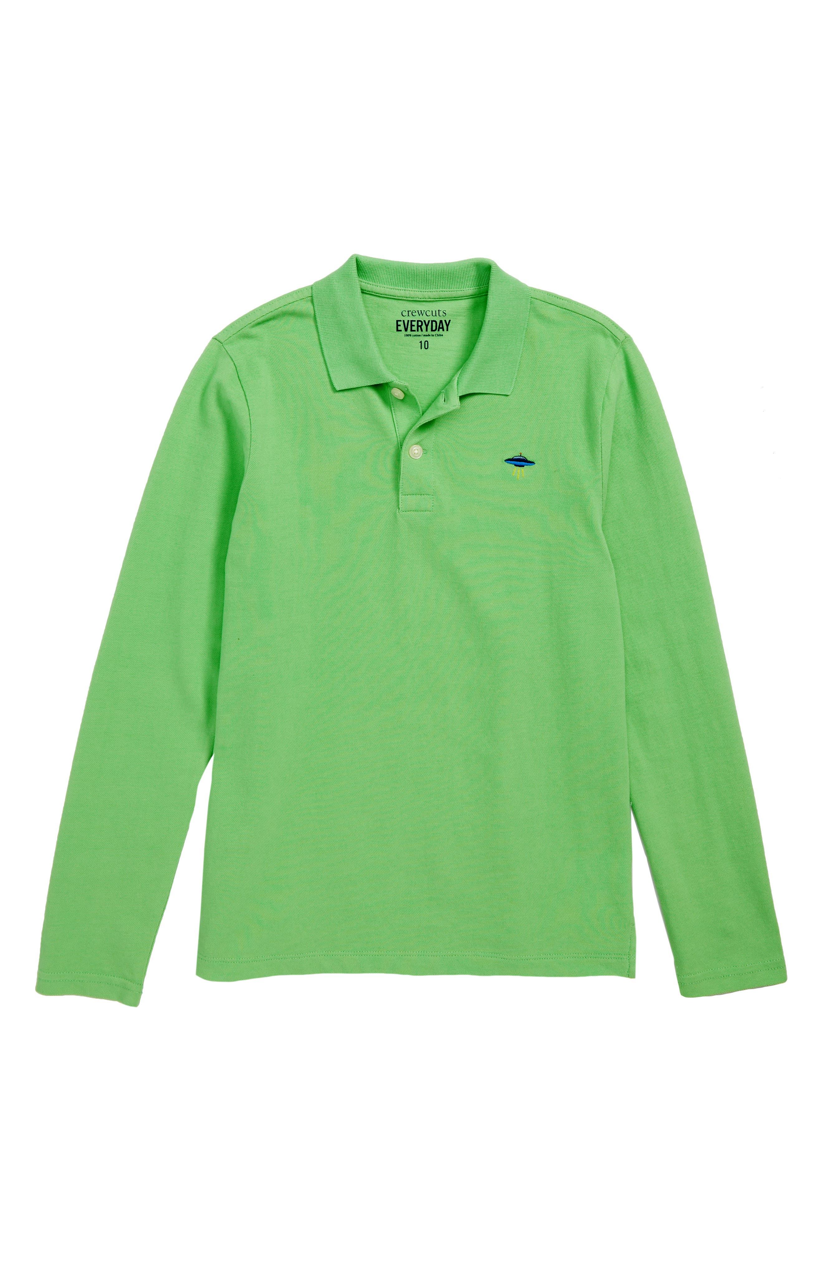 Critter Long Sleeve Polo,                         Main,                         color, BOLD LIME