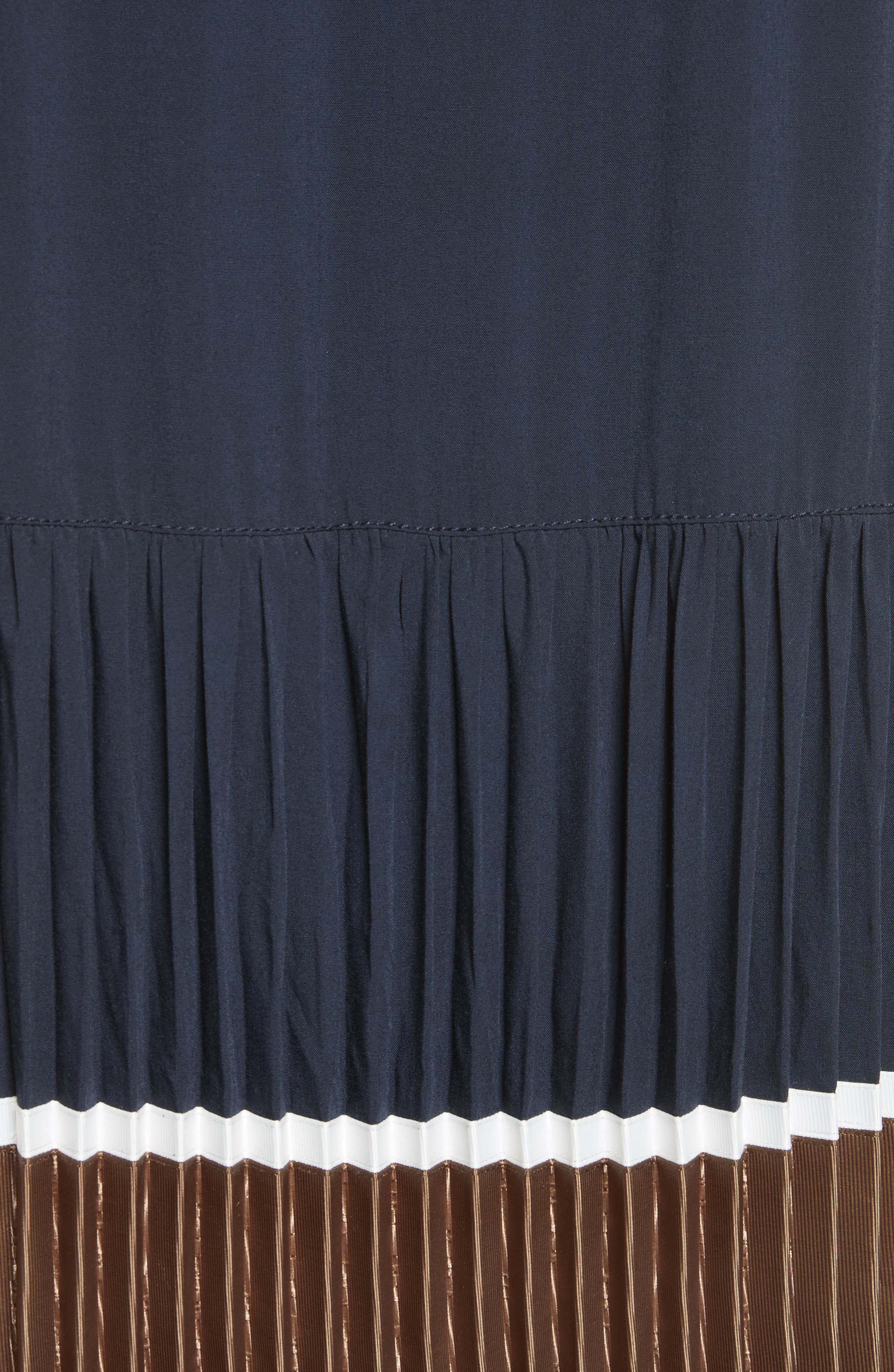 Jama Pleated Stripe Dress,                             Alternate thumbnail 5, color,                             401
