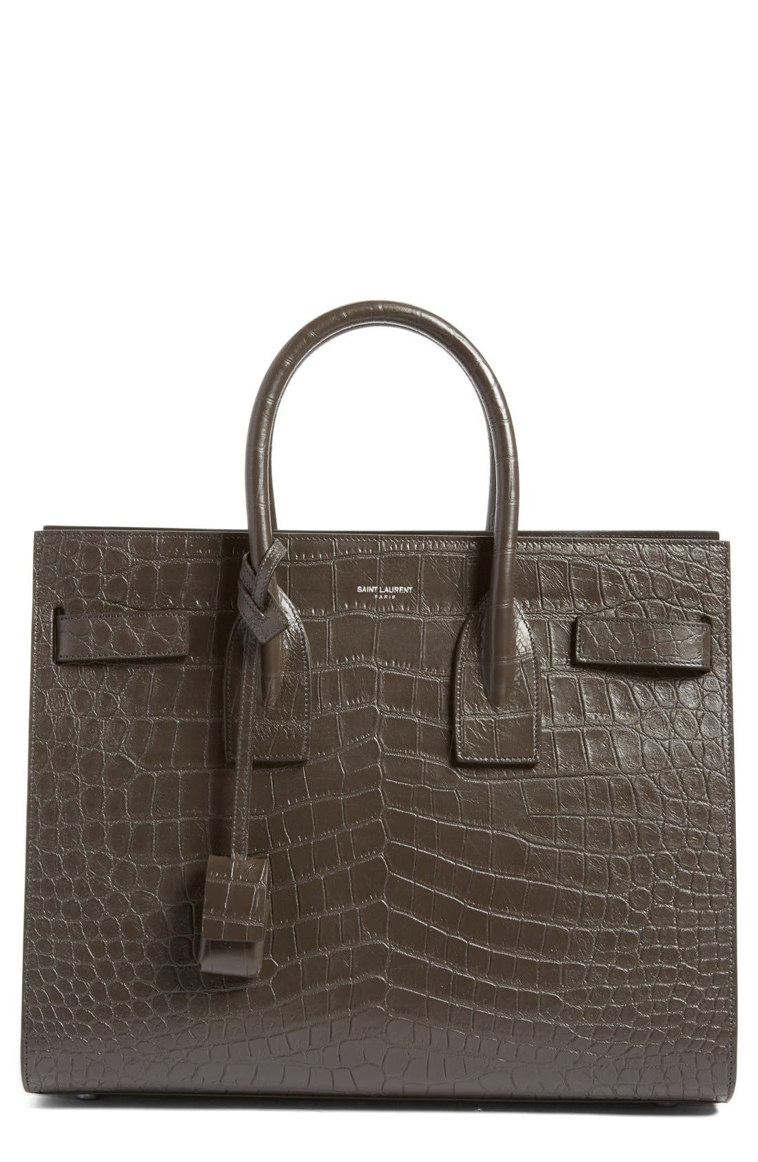 'Small Sac de Jour' Croc Embossed Leather Tote,                             Main thumbnail 1, color,                             022