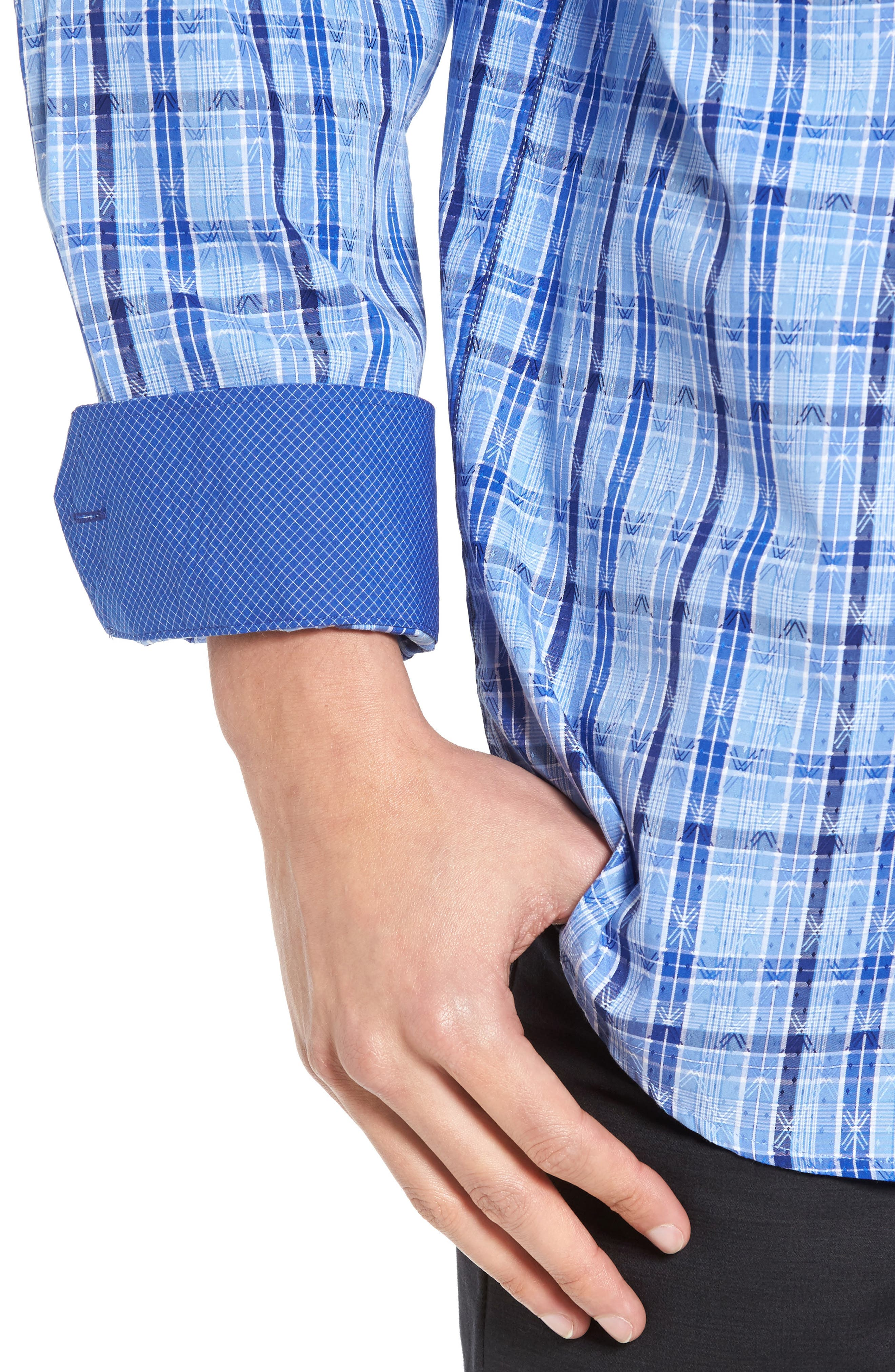 Classic Fit Check Sport Shirt,                             Alternate thumbnail 4, color,                             422