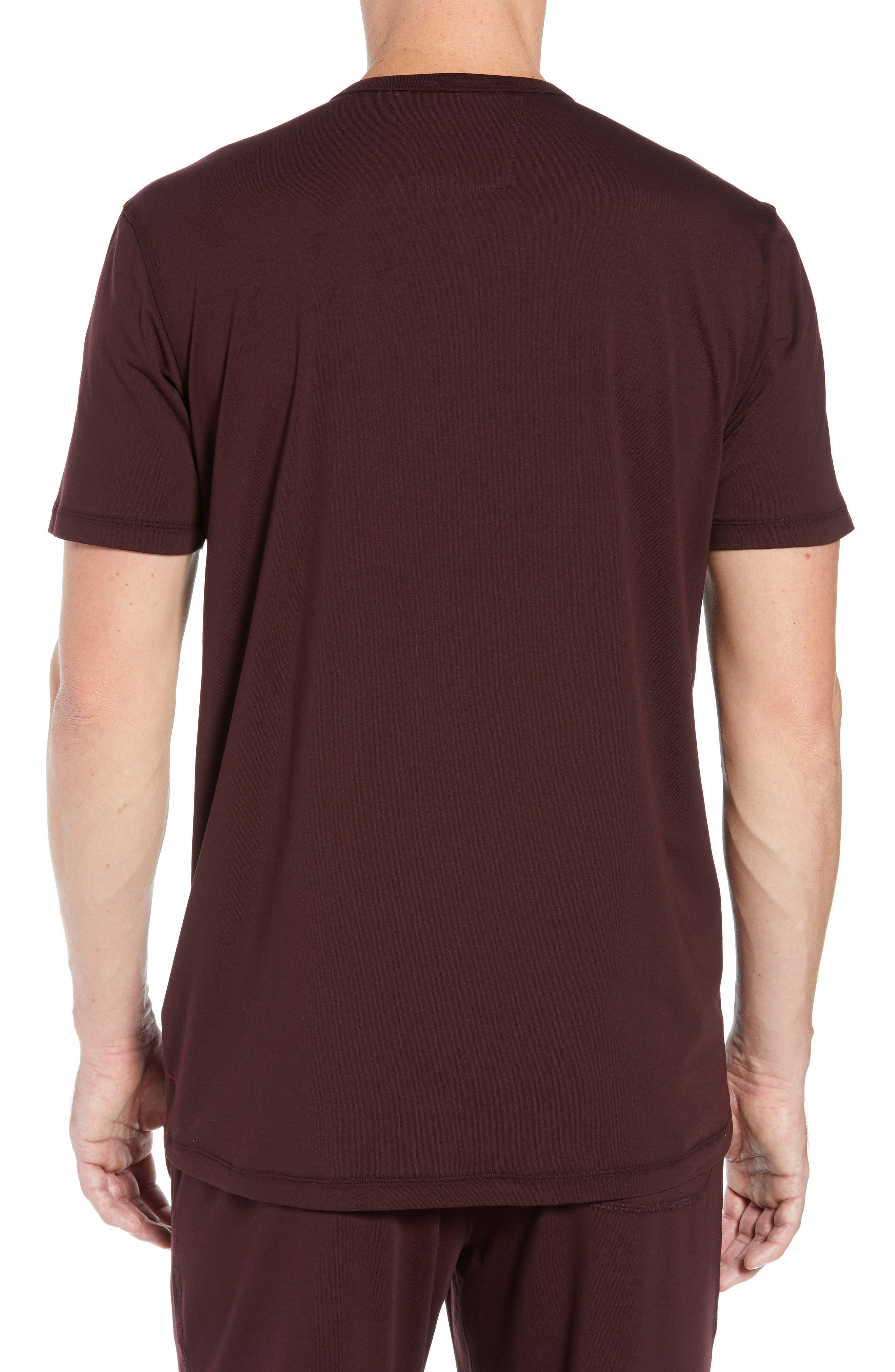 Stretch Cotton & Modal Short Sleeve Henley,                             Alternate thumbnail 2, color,                             WINE